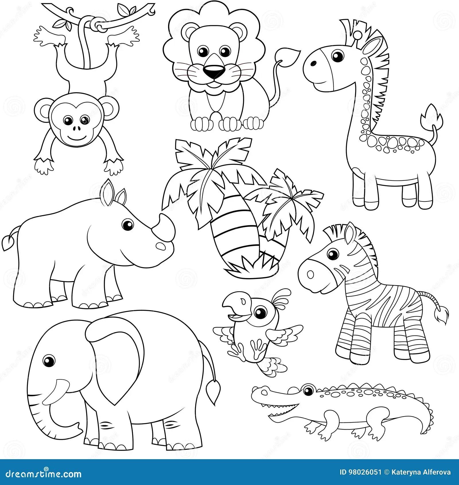 Animales De La Selva Leon Elefante Jirafa Mono Loro Cocodrilo Cebra Y Rinoceronte