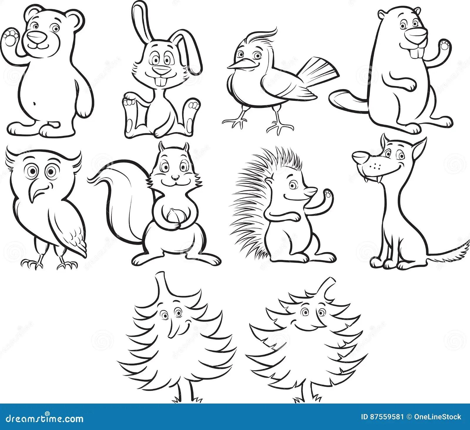 Animales Lindos Del Bosque De La Historieta Del Libro De