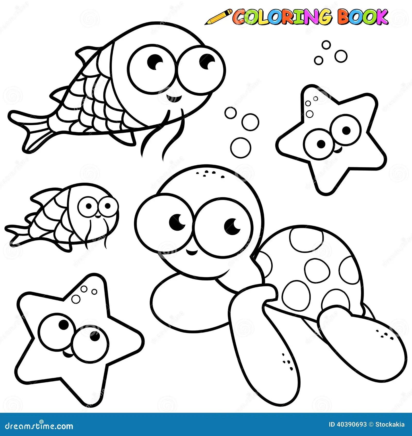 Animali Di Mare Del Libro Da Colorare Messi Illustrazione