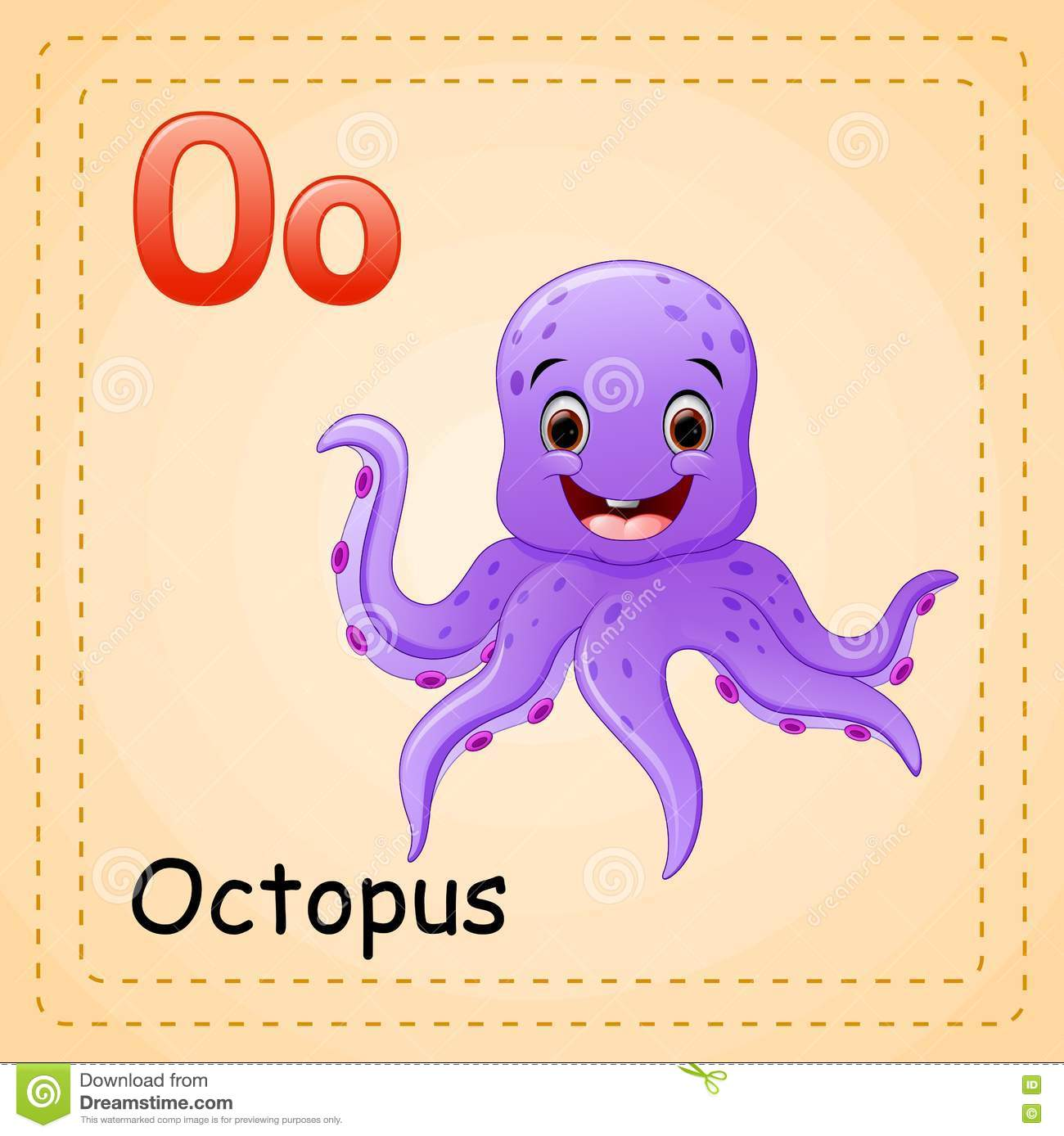 Animals Alphabet O Is For Octopus Stock Vector