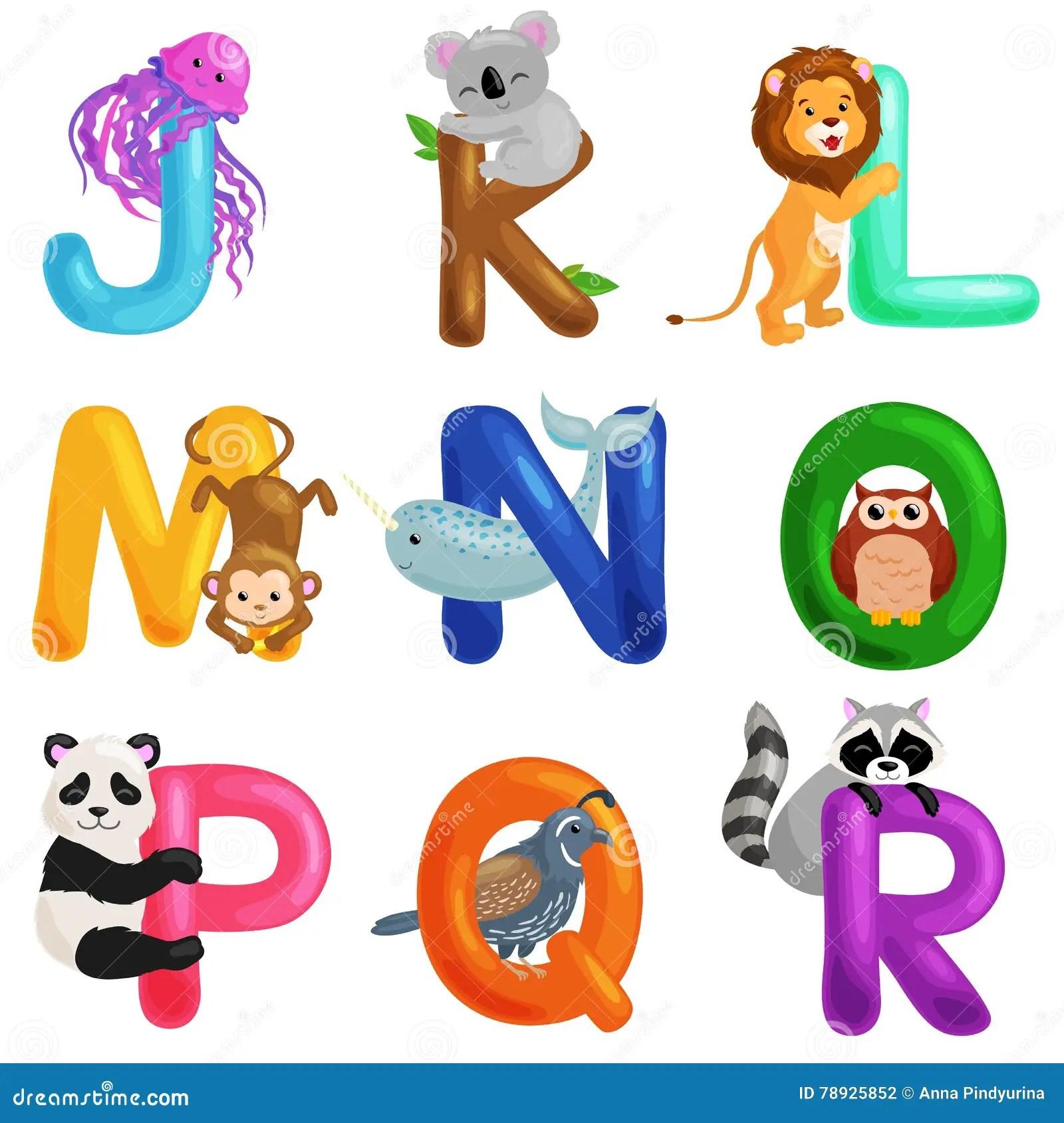 Animals Alphabet Set For Kids Abc Education In Preschool