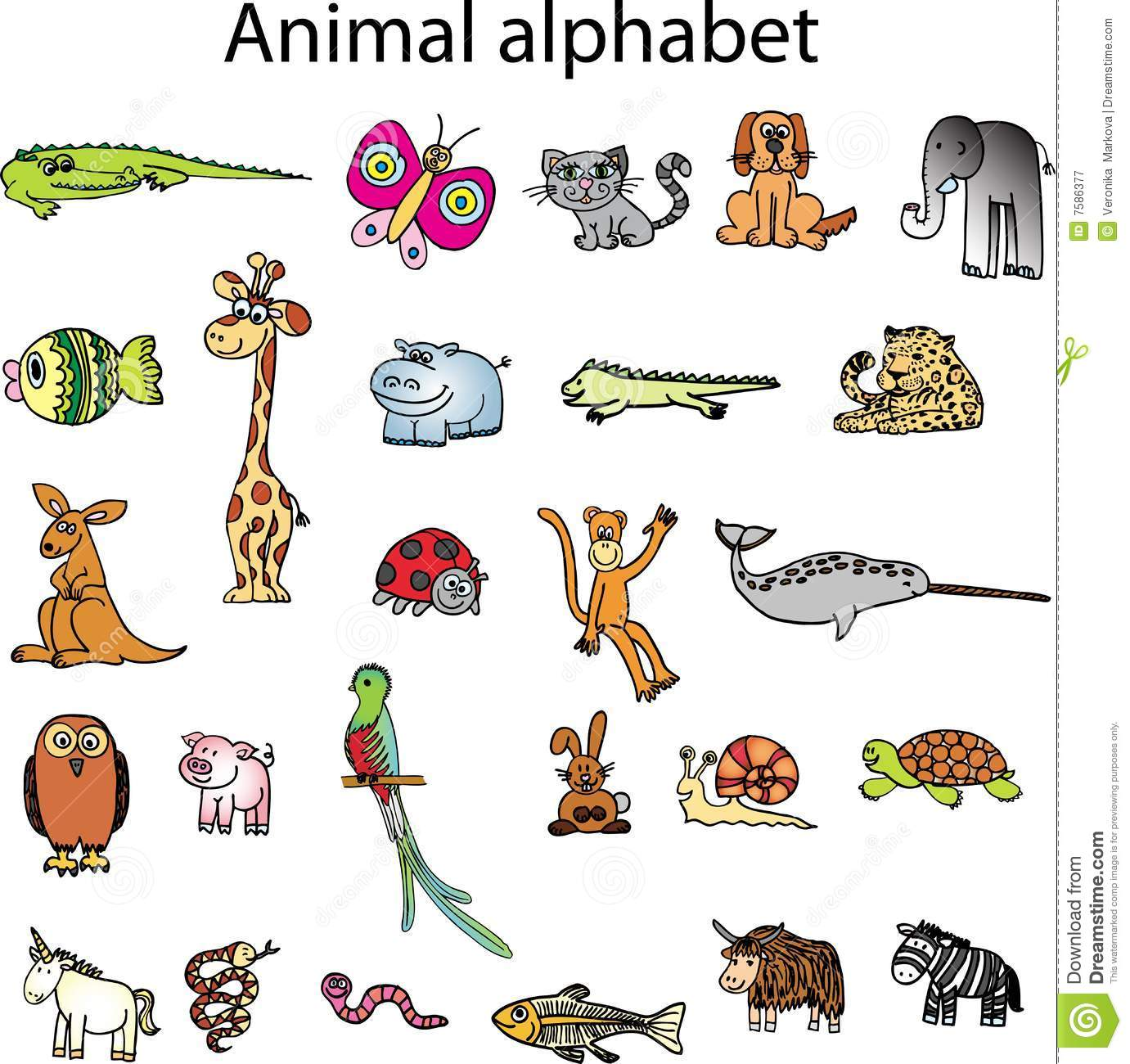 Animals From Animal Alphabet Royalty Free Stock