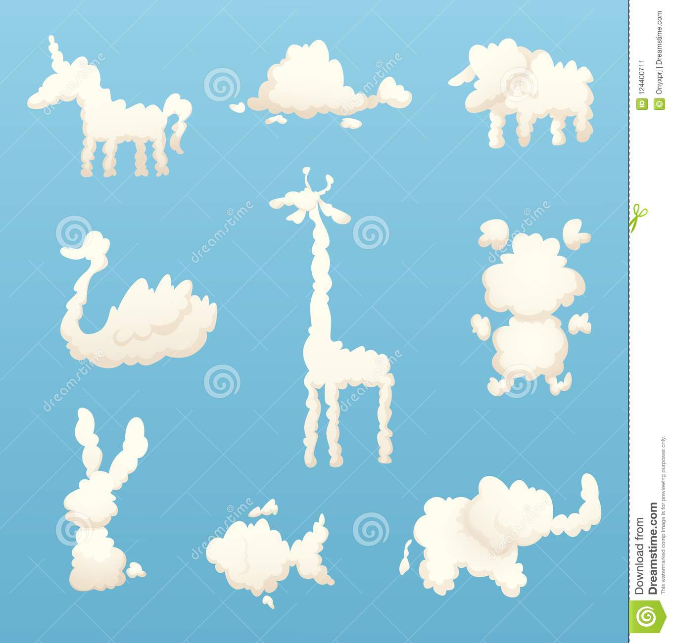 Animals From Clouds Various Shapes Of Cartoon Clouds Stock Vector