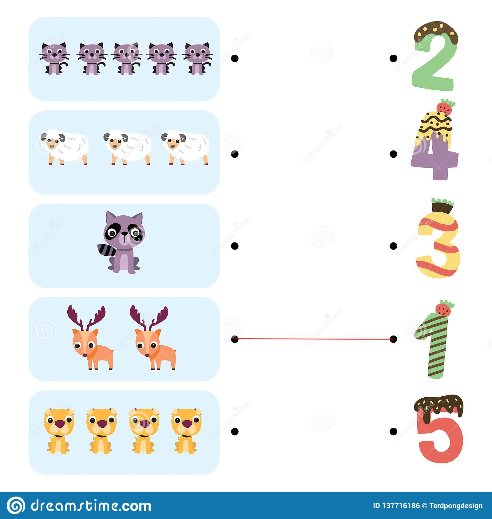 Animals Game Worksheet Design Stock Vector