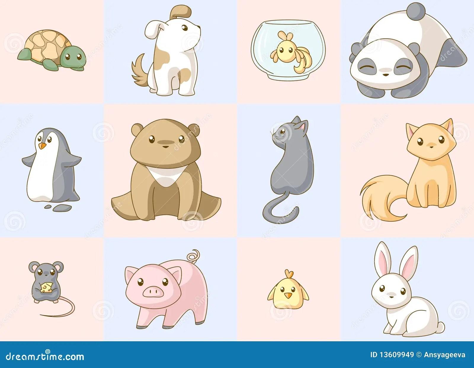 Animals Kawaii Set Royalty Free Stock Images Image 13609949