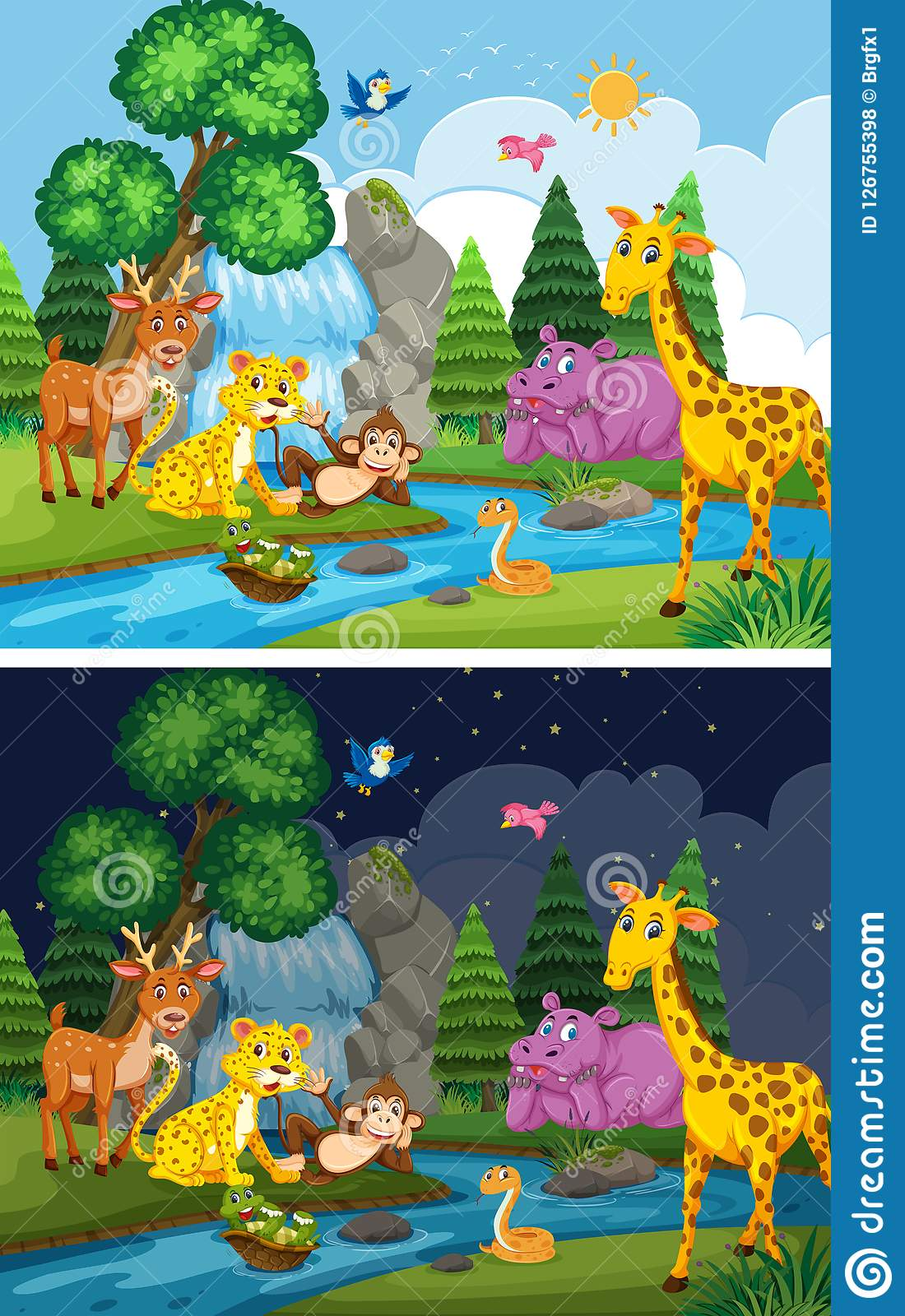 Animals Living Next To River Day And Night Stock Vector