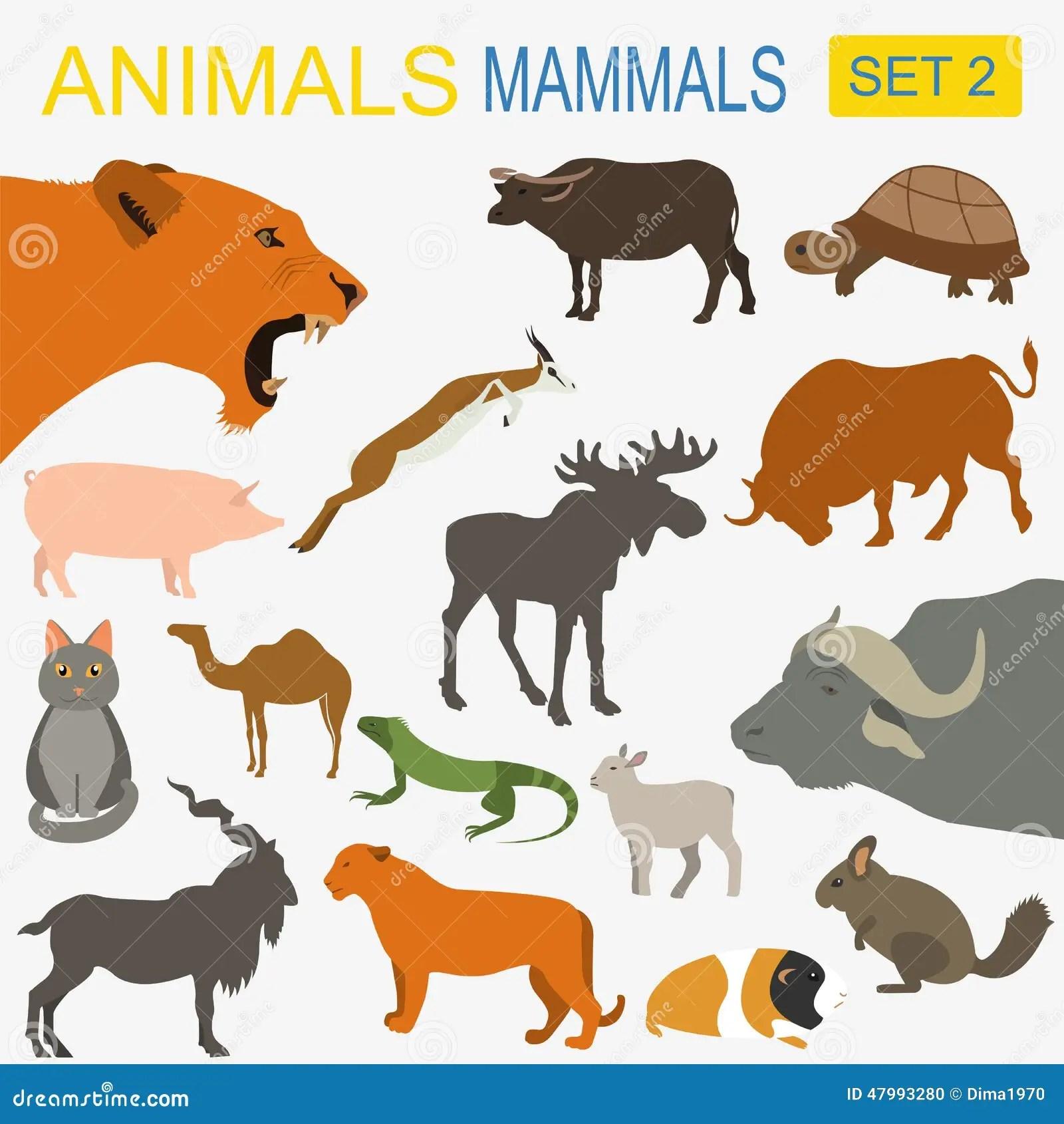 Animals Mammals Icon Set Vector Flat Style Stock