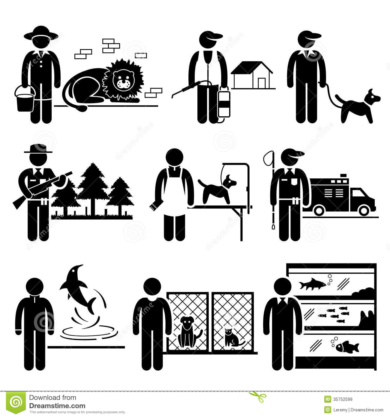 Animals Related Jobs Occupations Careers Royalty Free