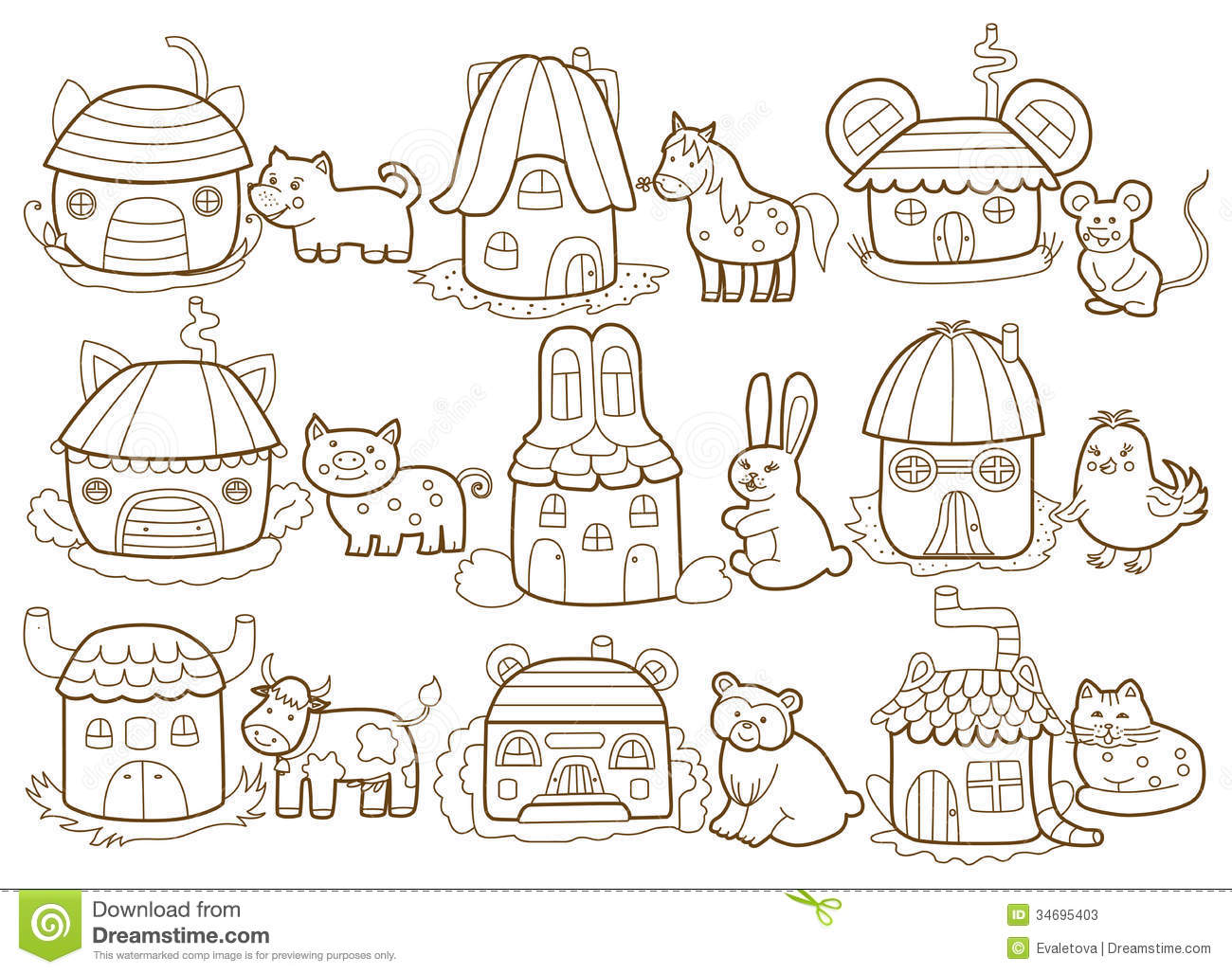 Animals And Their Houses Stock Illustration Illustration