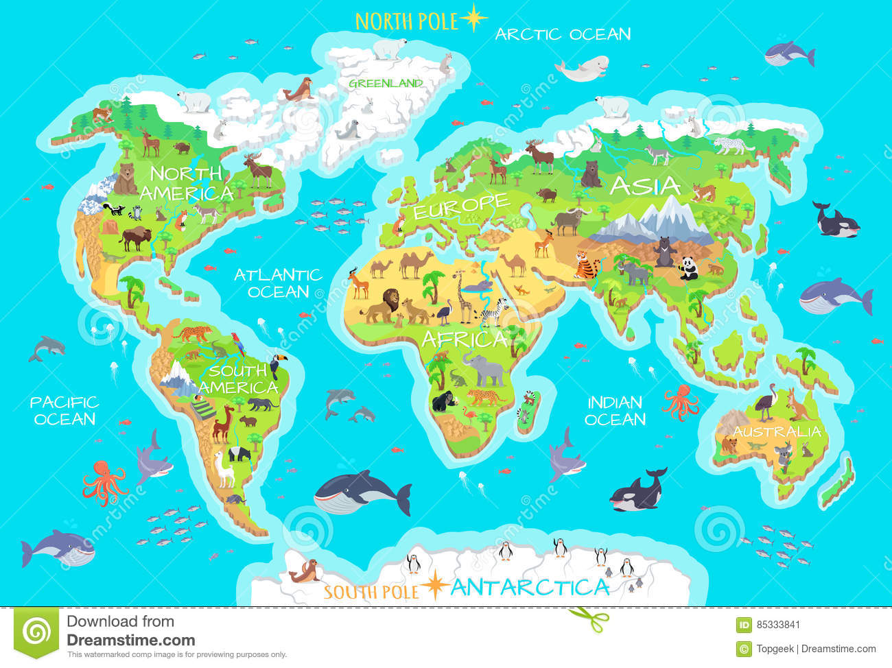 Animals And Where They Live Our Planet Earth Stock