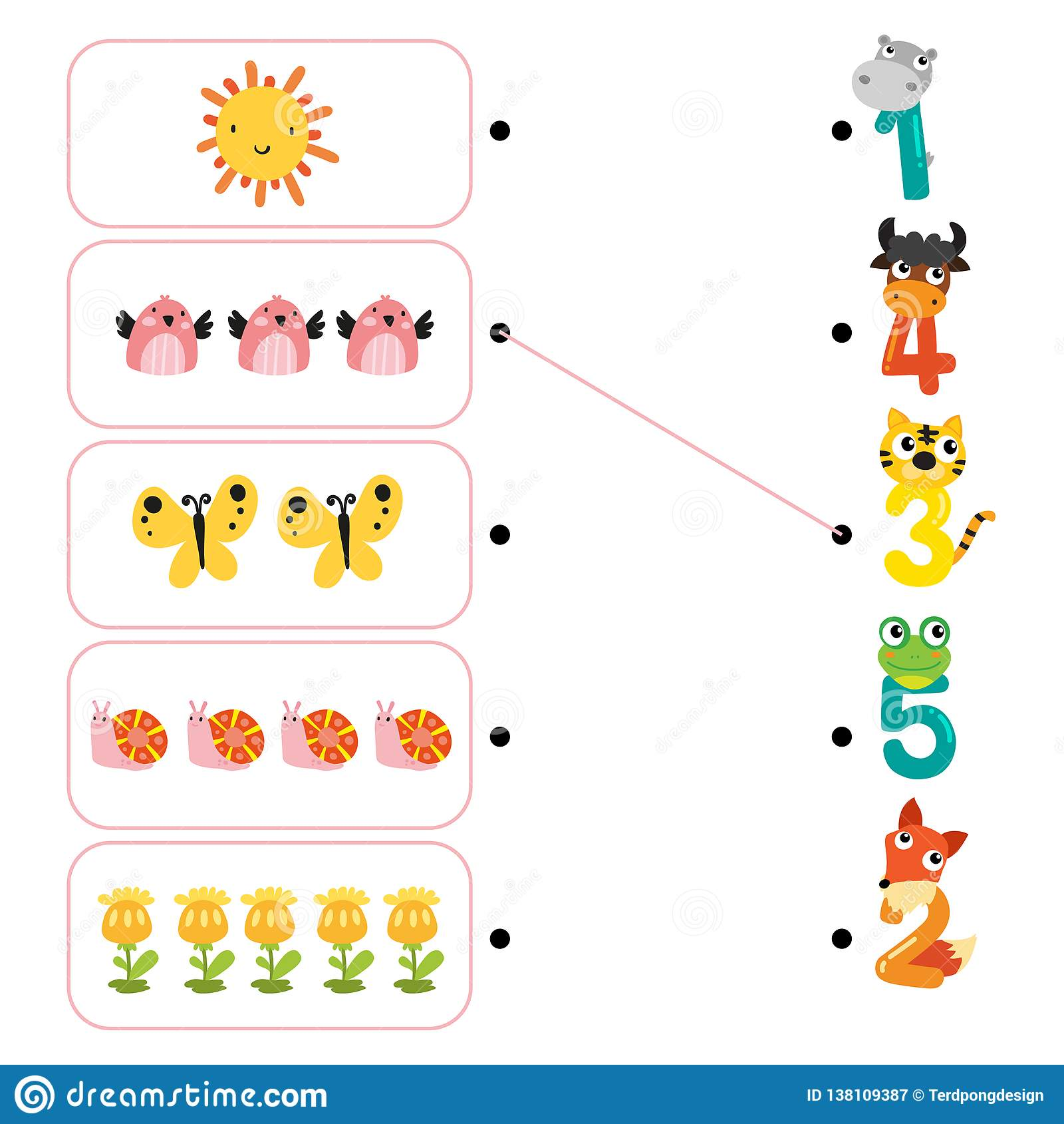 Animals Worksheet Vector Design Stock Vector