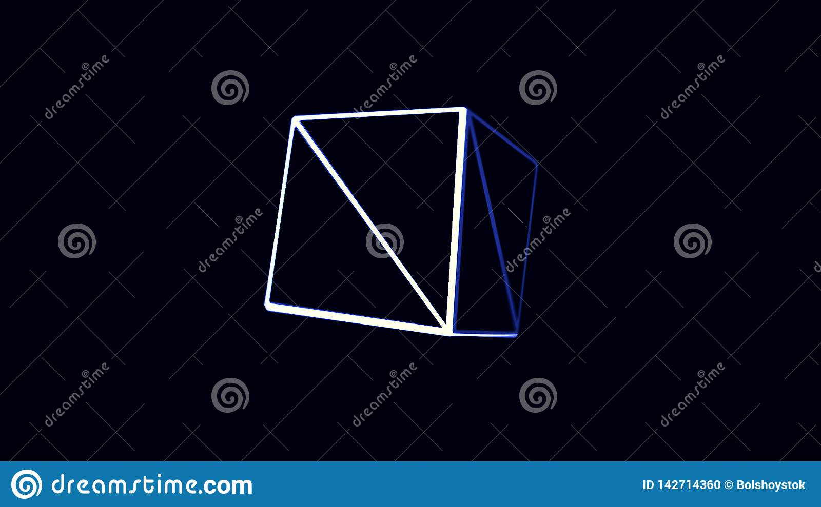 Animation With Blue And White Cube Edges Rotating On Black