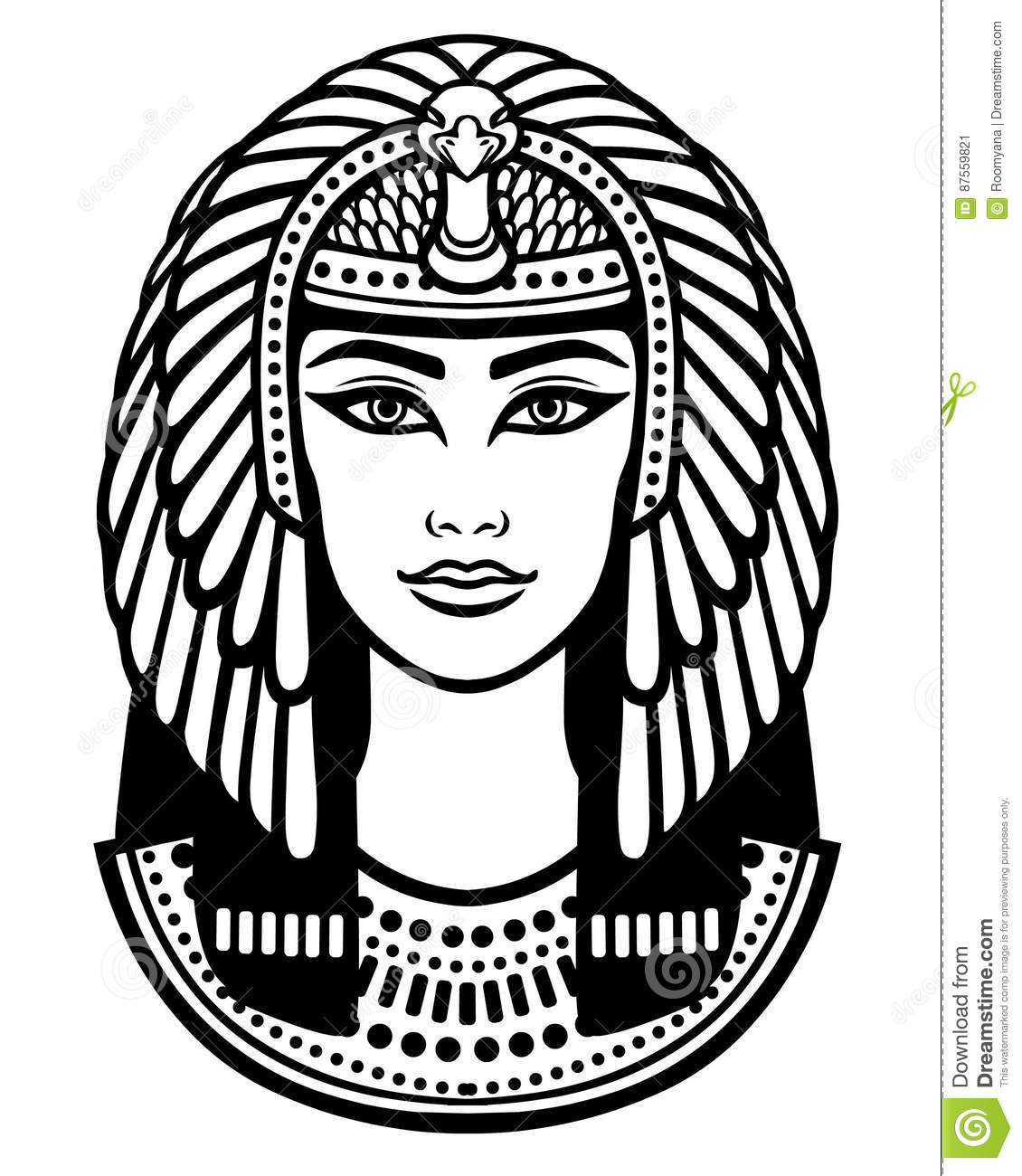 Animation Portrait Of The Beautiful Egyptian Woman Stock