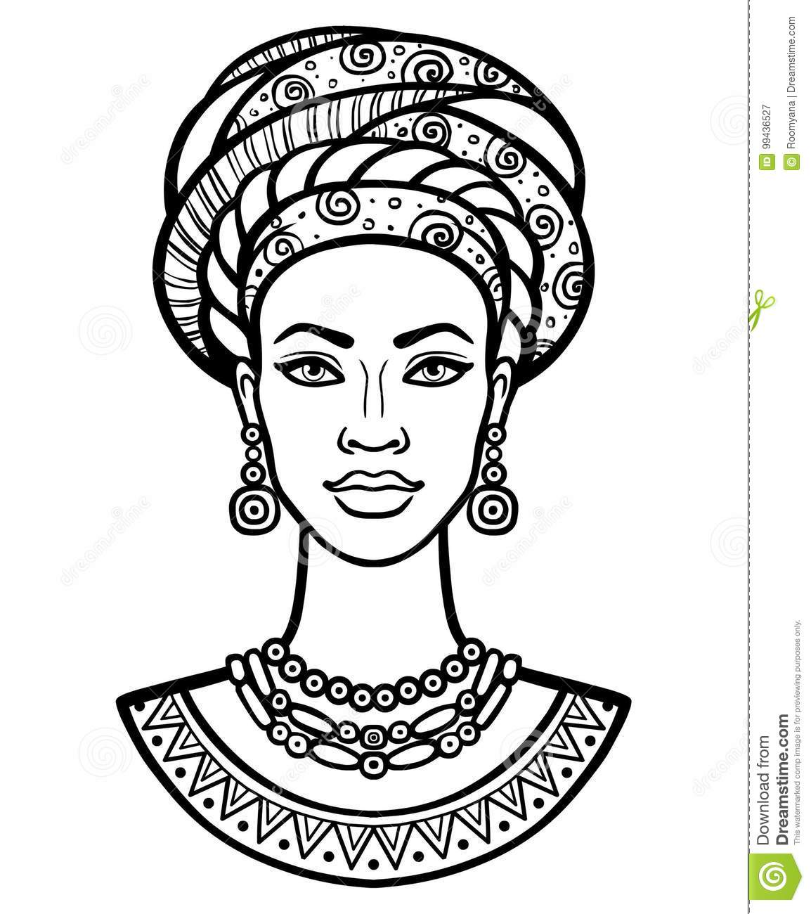 Animation Portrait Of The Young African Woman In A Turban