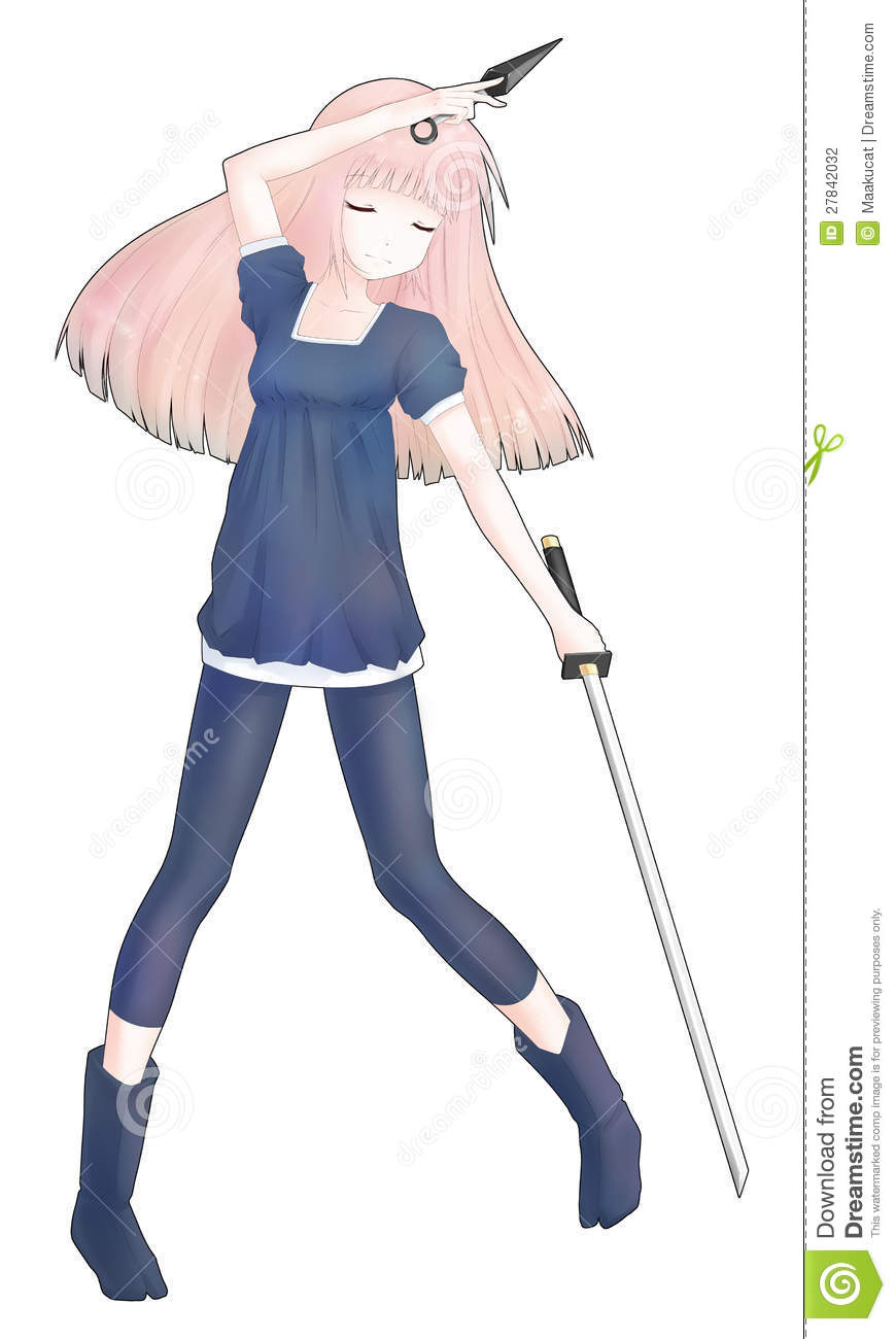 Anime Ninja Girl Holding A Kunai And A Sword Stock