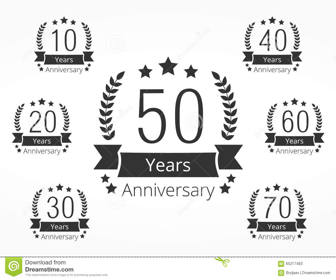 Anniversary Emblems Stock Vector Illustration Of
