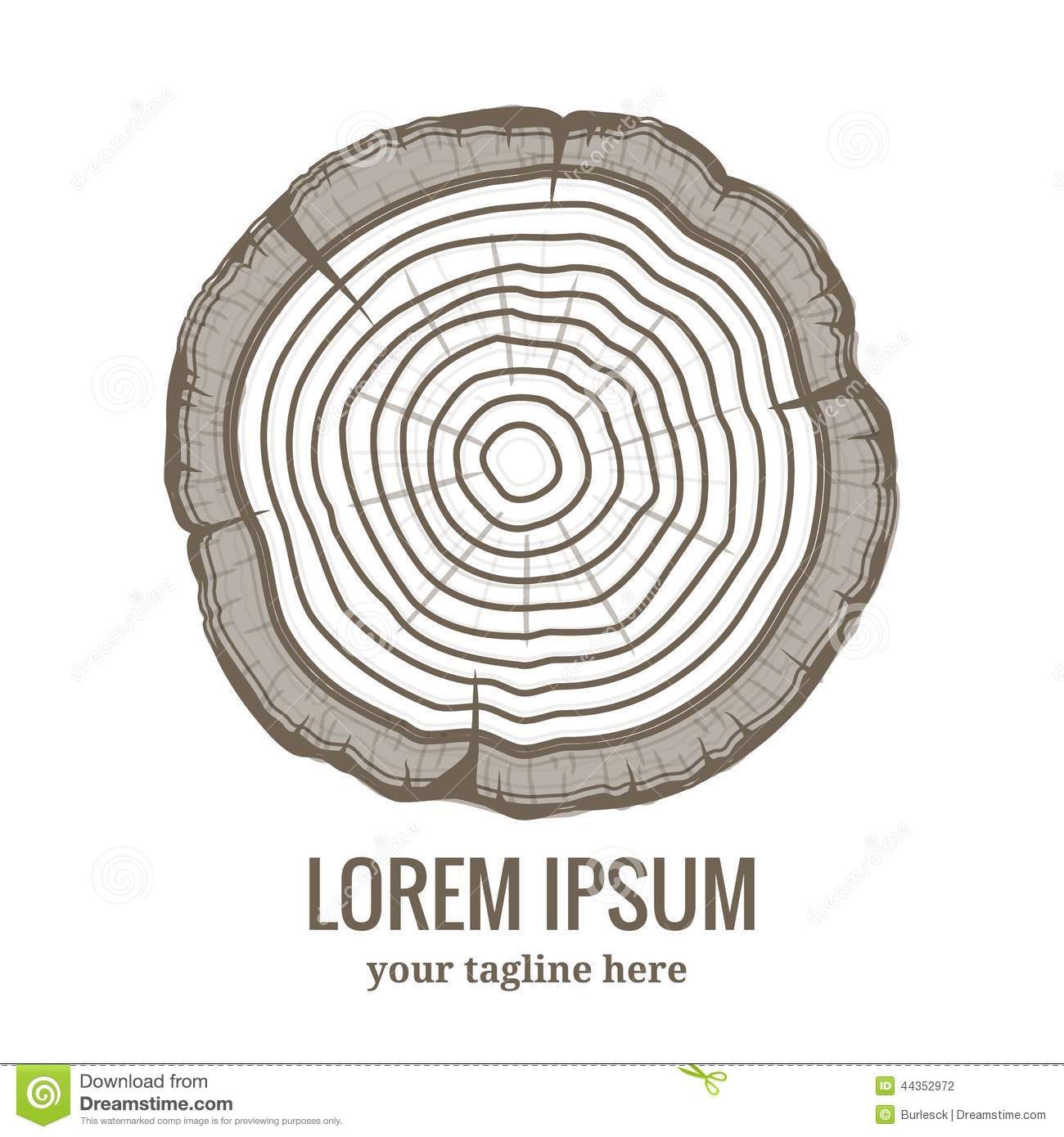 Annual Tree Growth Rings Logo Icon Stock Vector