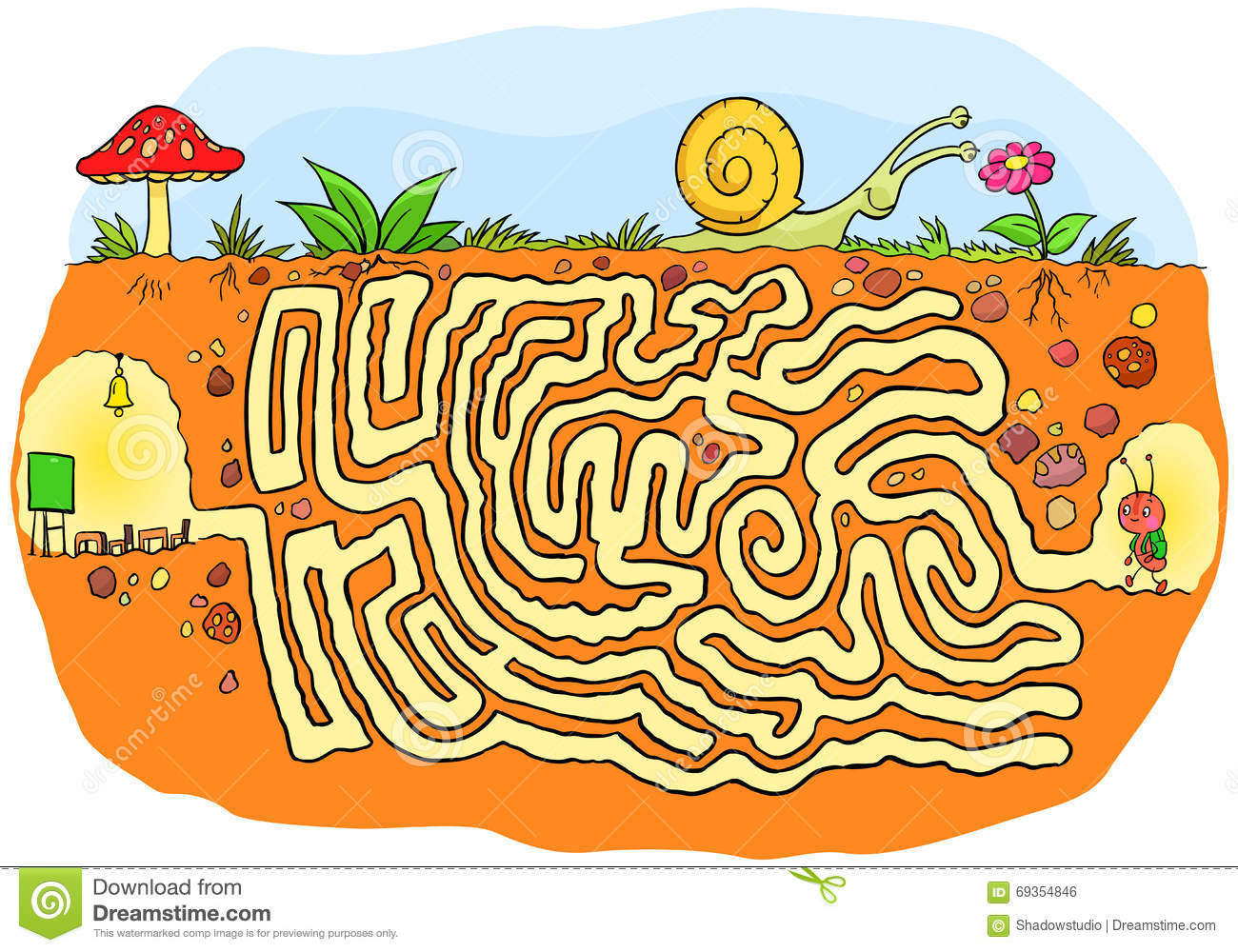 Ant Going To School Maze Game For Kids Stock Vector