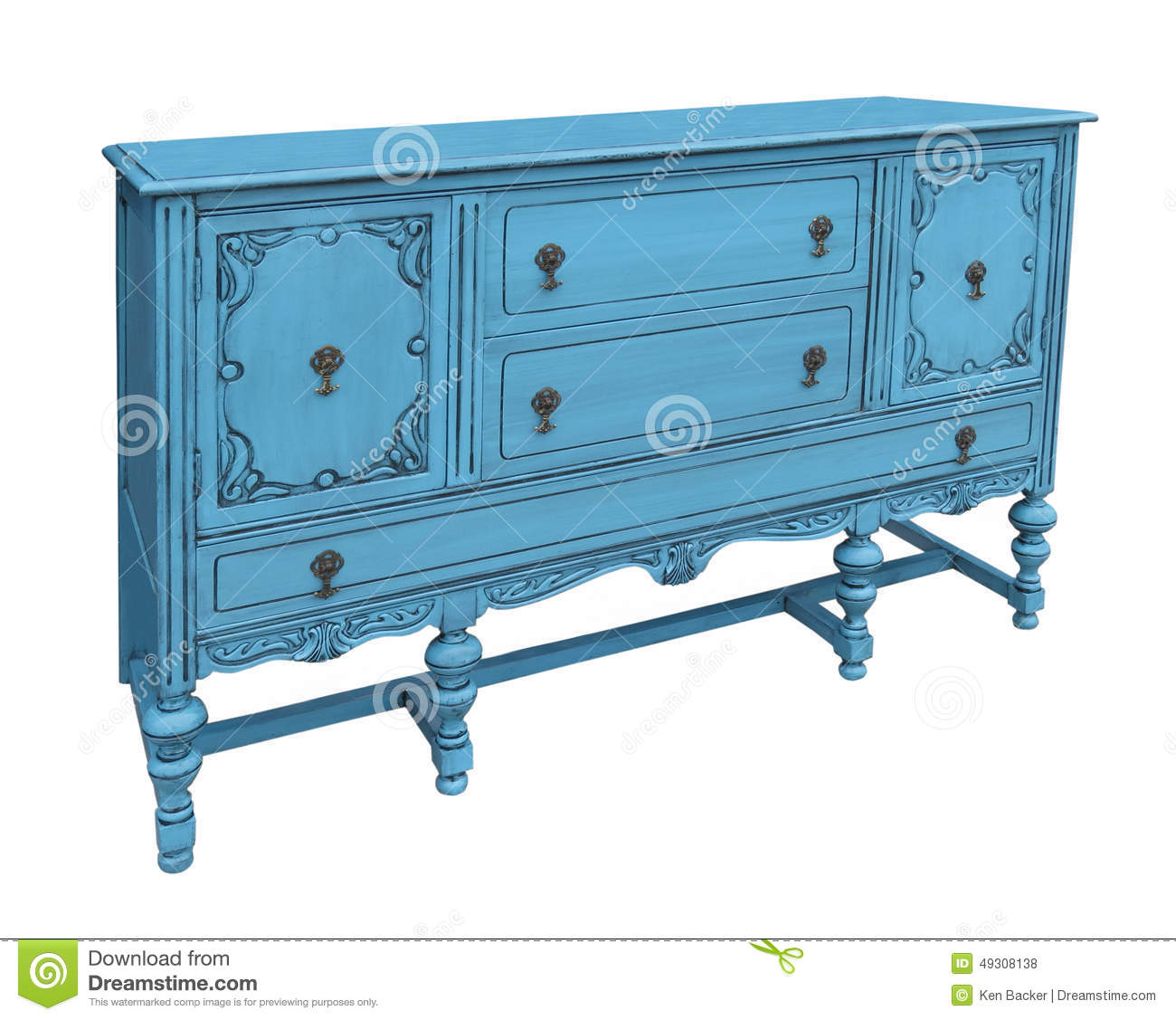 Antique Blue Buffet Isolated Stock Photo Image Of Cupboards Cabinet 49308138
