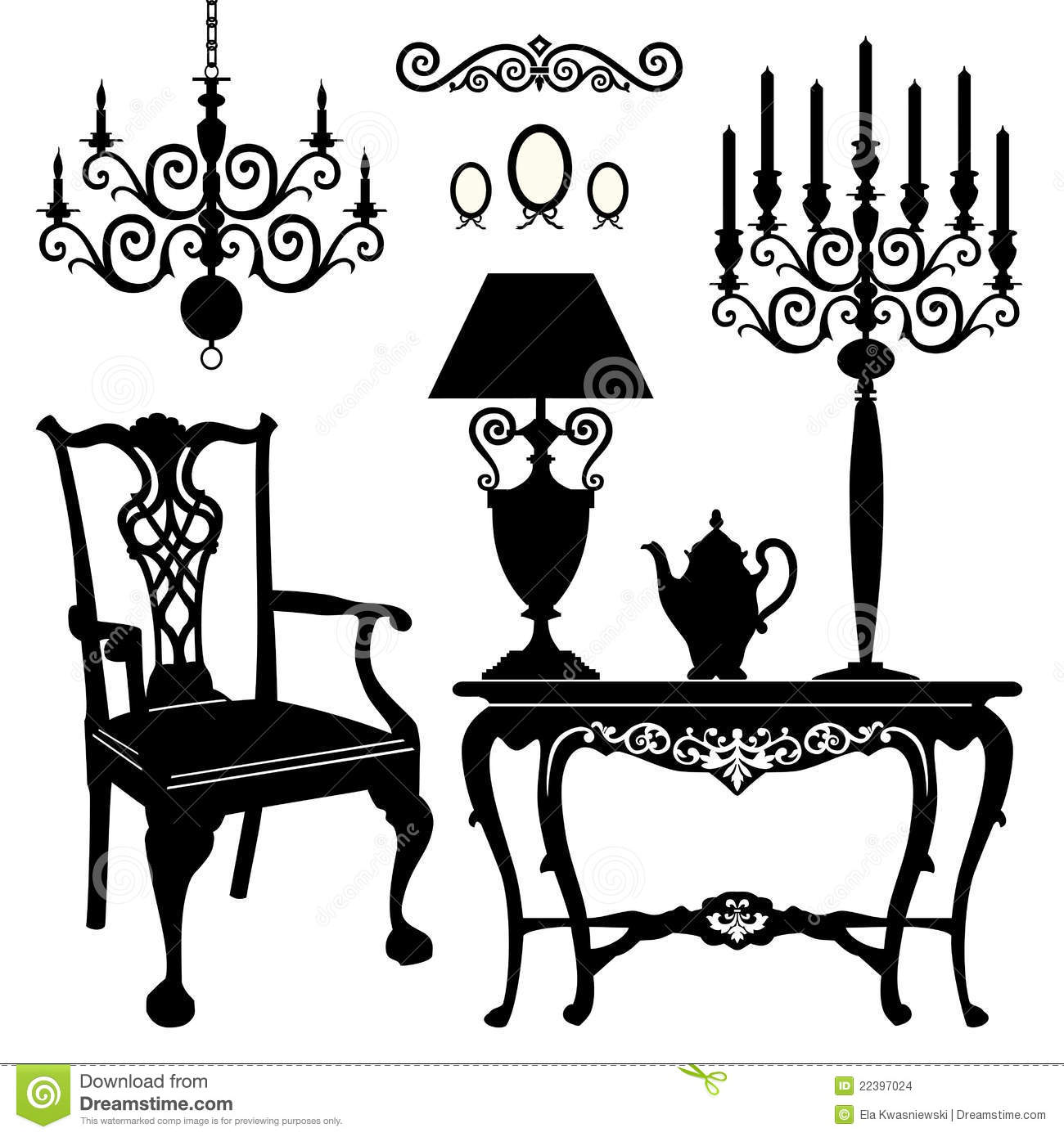 Antique Furniture Stock Vector Illustration Of Light