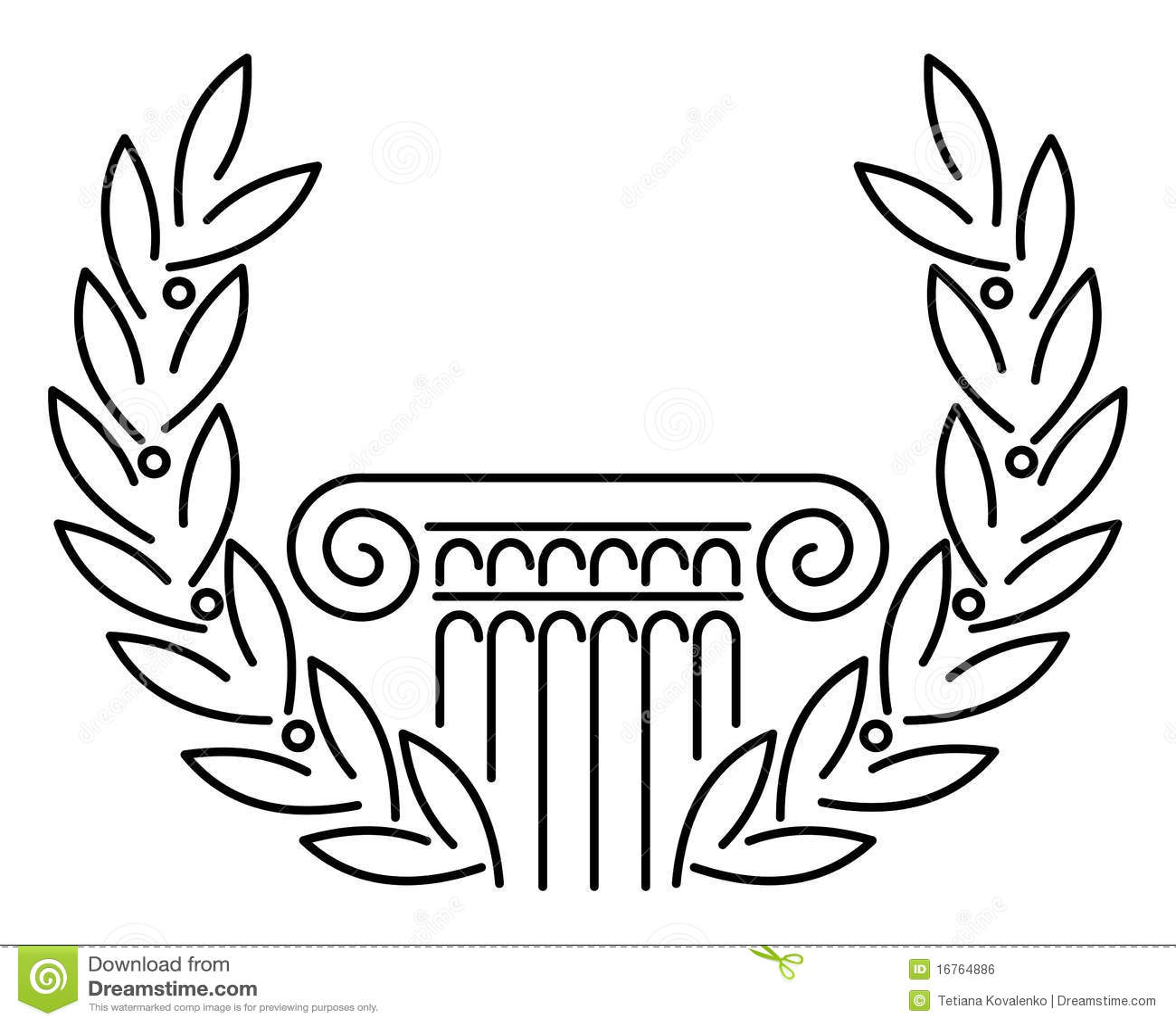 Antique Greek Column And Laurel Stock Vector