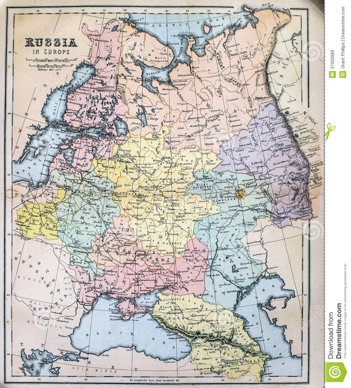 Antique Map Of Russia In Europe Stock Image