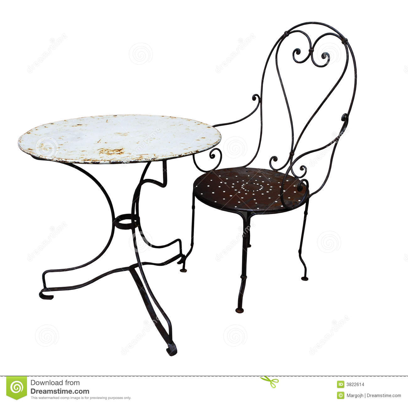 Old Style Metal Chair And Table Stock Photo