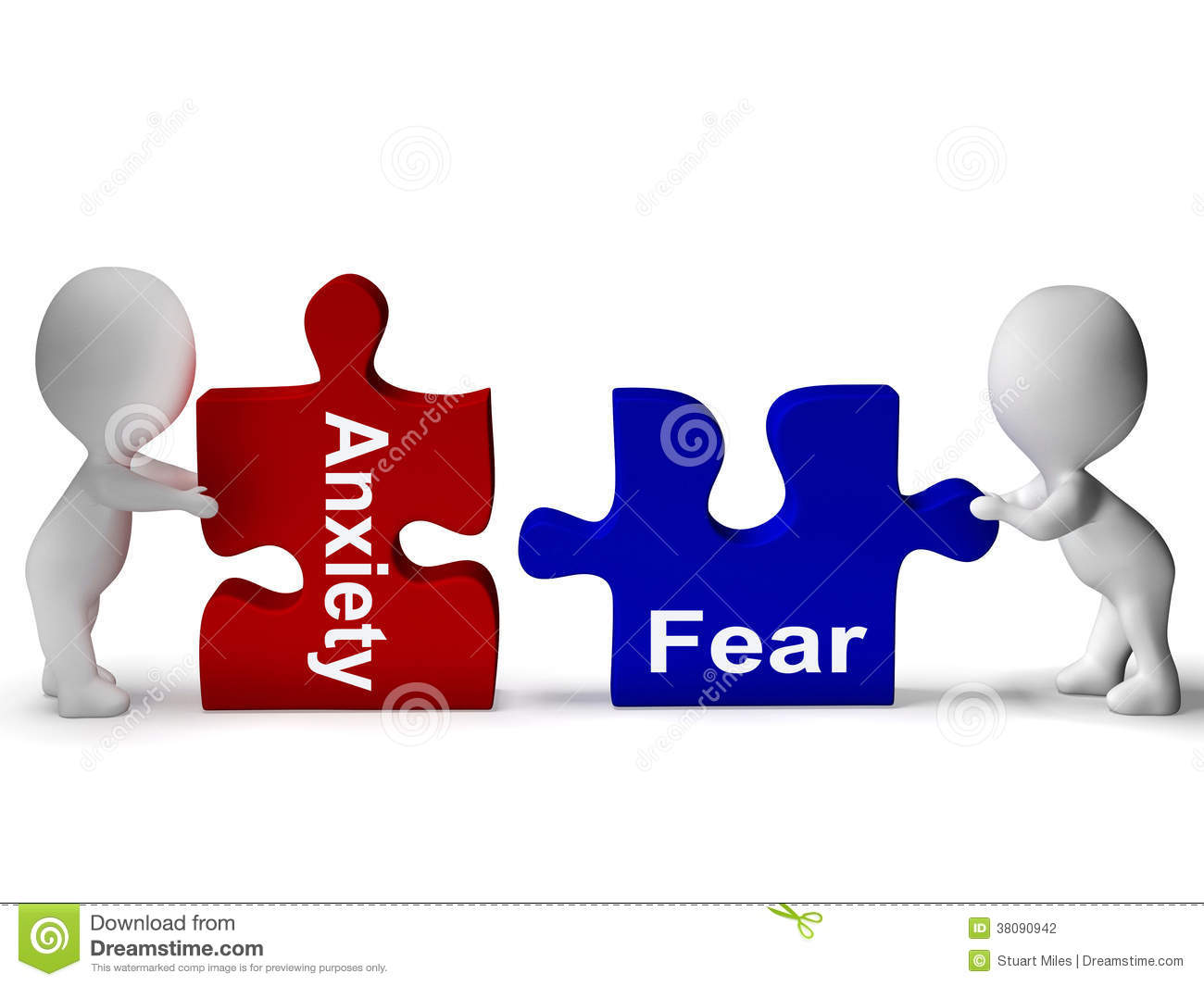 Anxiety Fear Puzzle Means Anxious And Afraid Stock