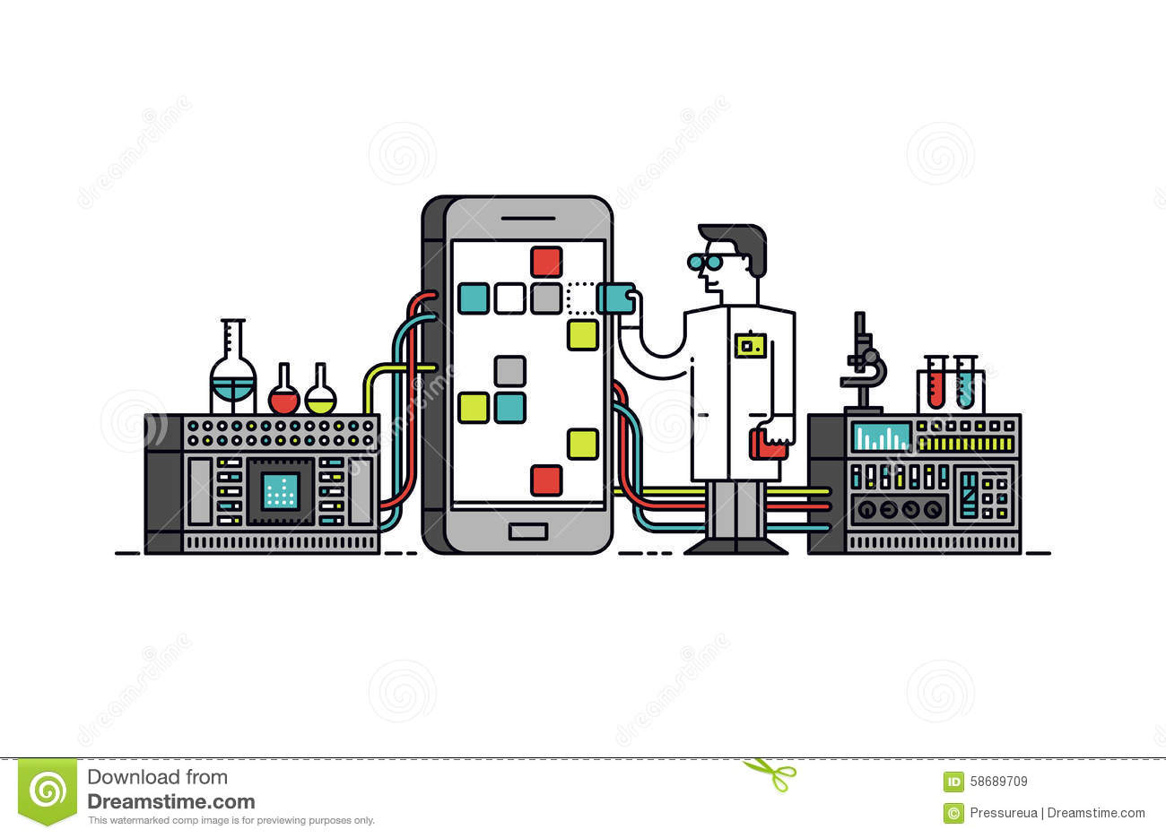 App Research Process Line Style Illustration Stock Vector