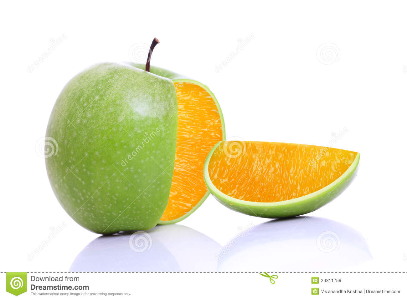 Apple With Inside Orange Royalty Free Stock Images
