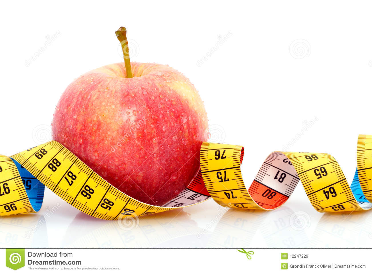 Apple With Measuring Tape Stock Image Image Of White