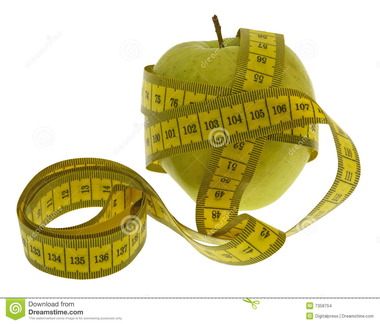 Apple With Measuring Tape Stock Photo Image Of