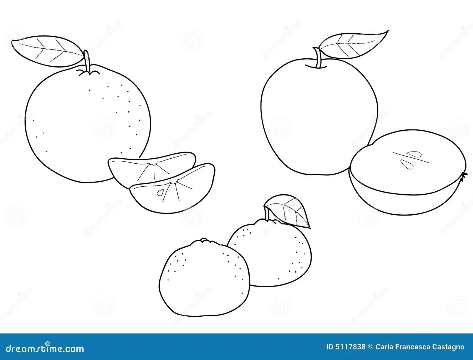 Apple Orange And Tangerine Bw Stock Vector