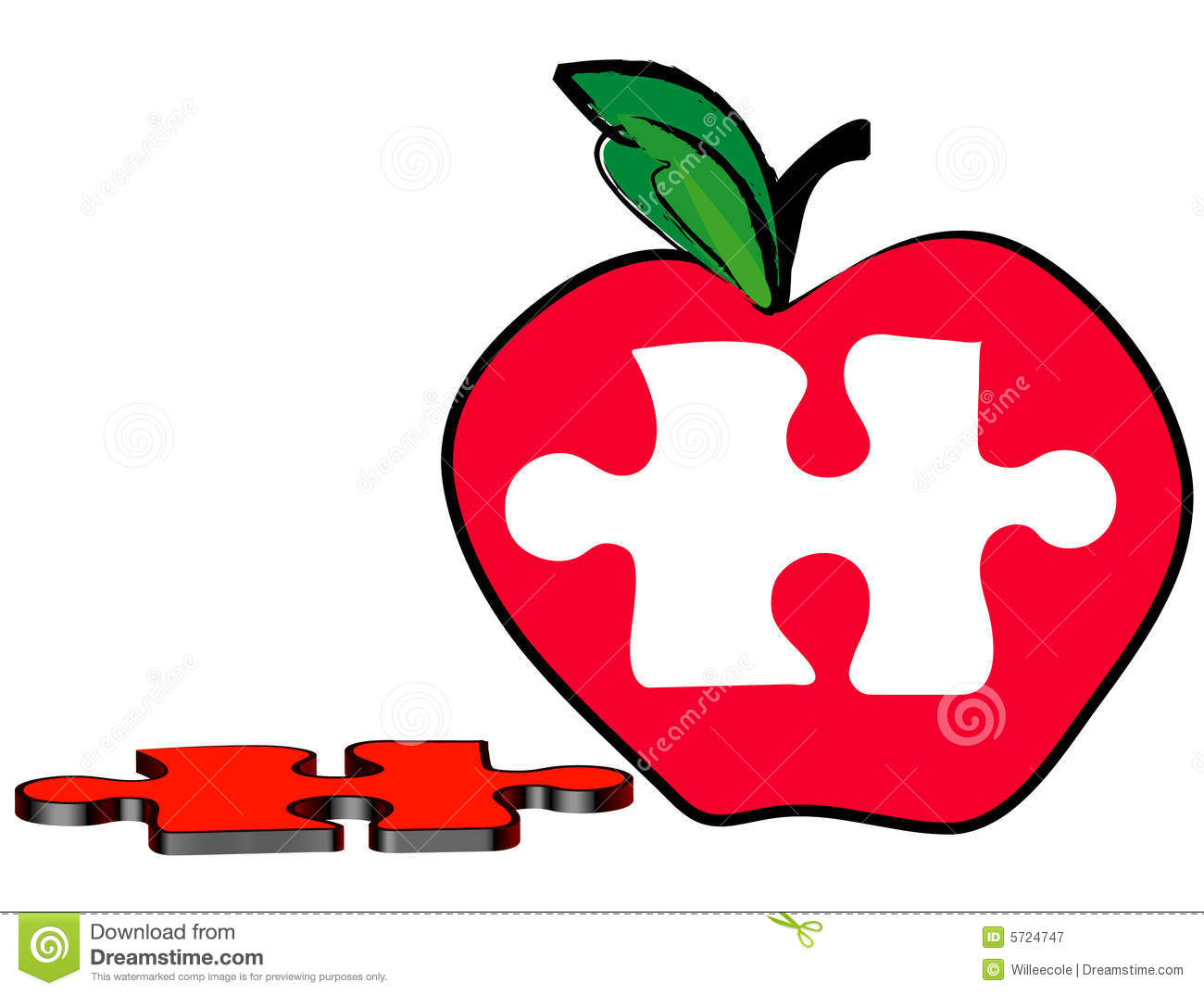Apple With Puzzle Piece Royalty Free Stock Photography