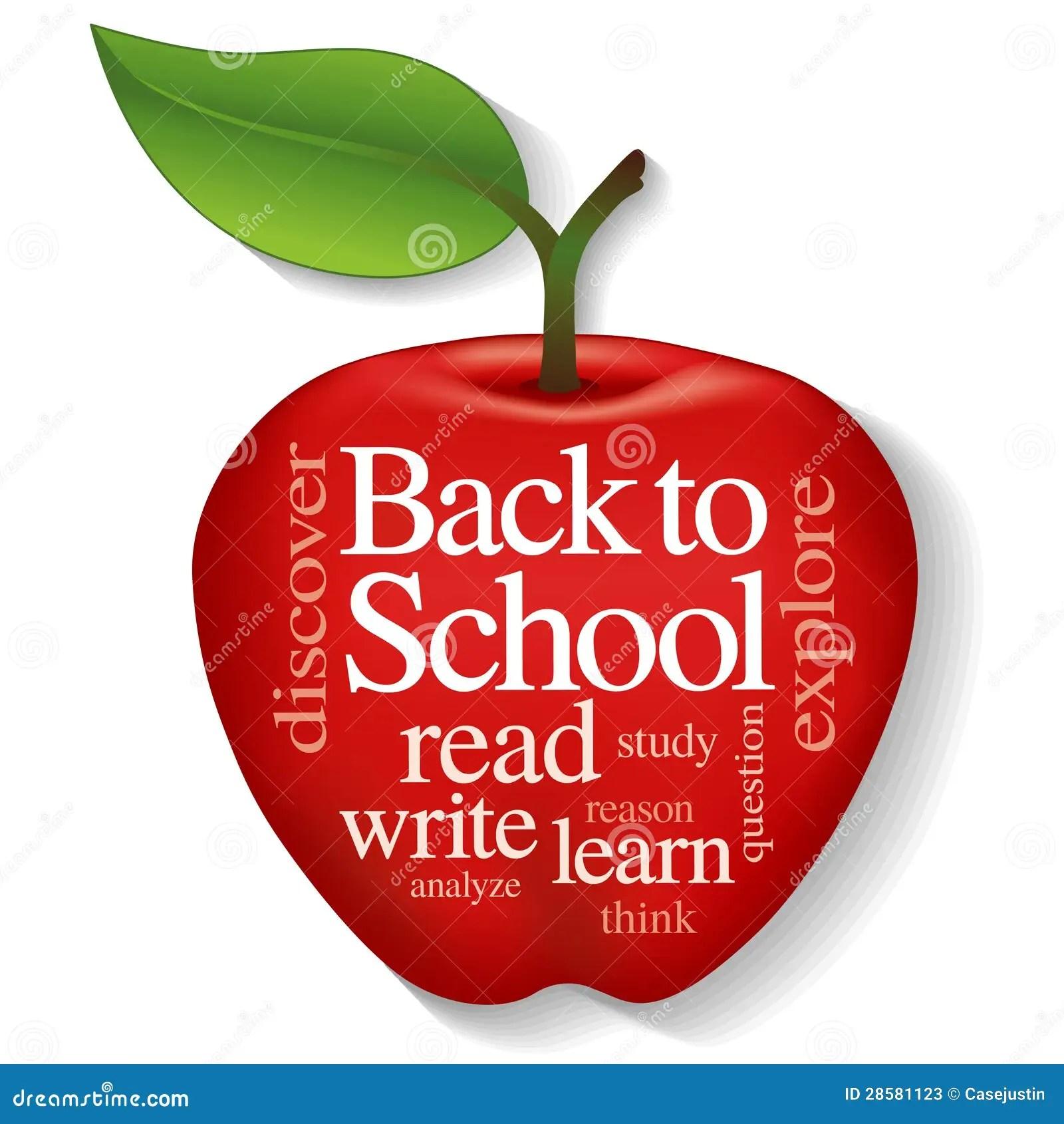 Apple Word Cloud Back To School Stock Photos