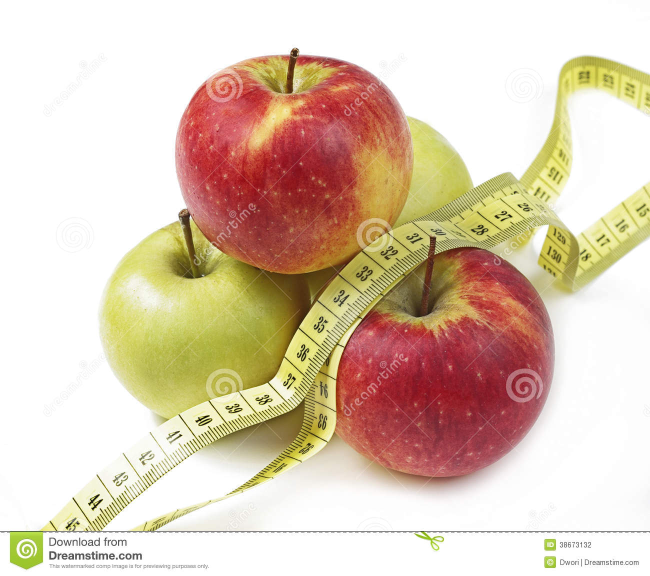 Apples And The Measuring Tape Stock Photo