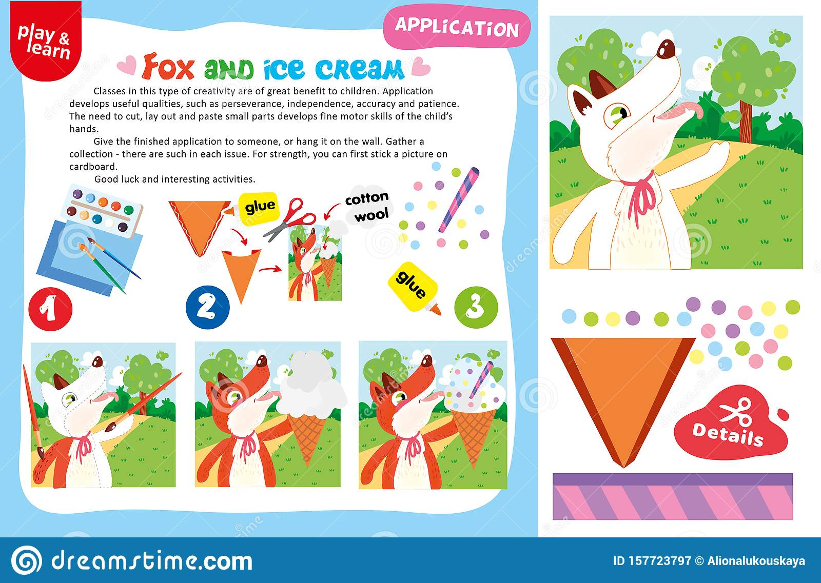 Application Fox And Ice Cream Printable Worksheet Stock