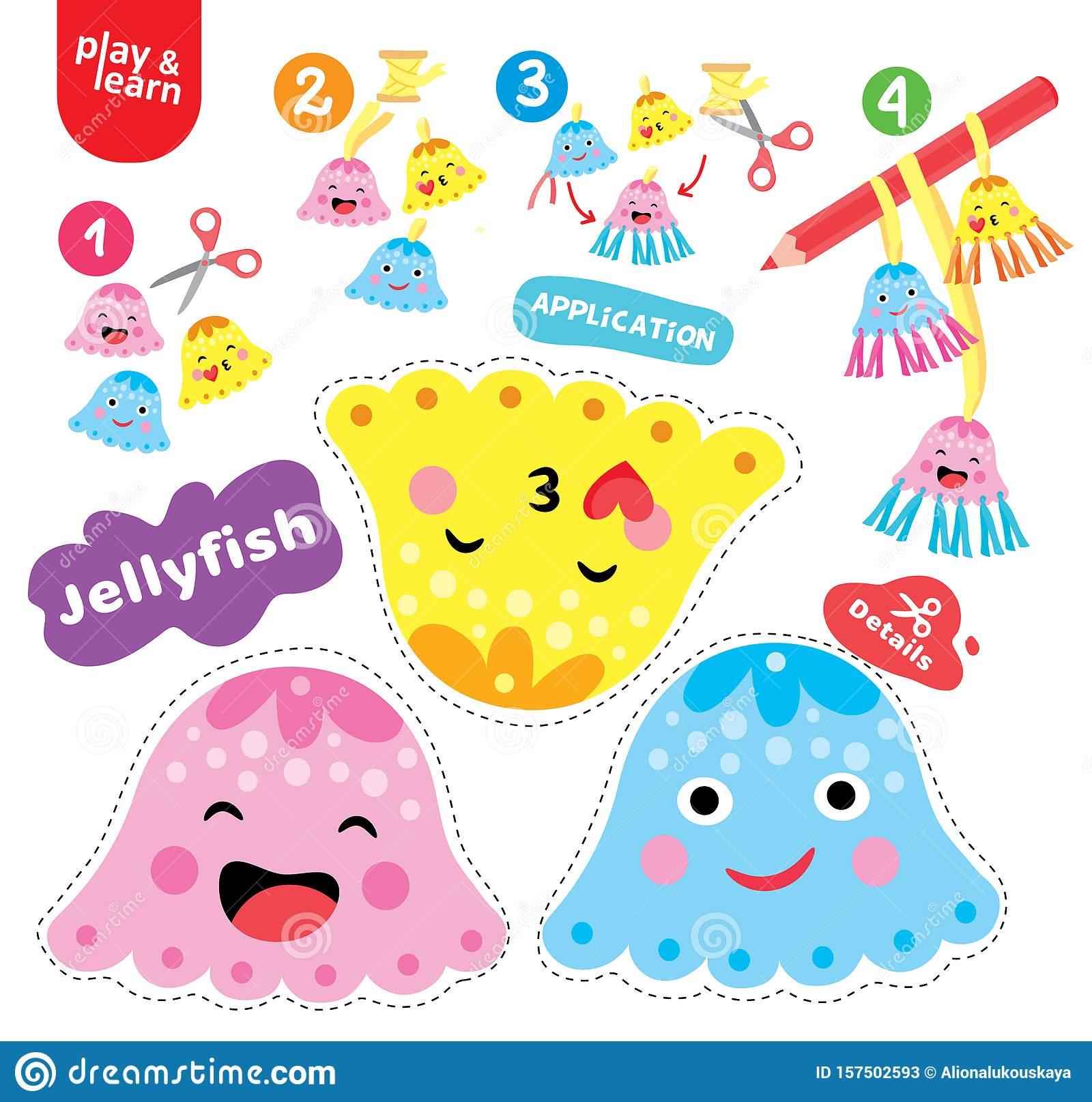 Application Jellyfish Kid Game Printable Worksheet Vector