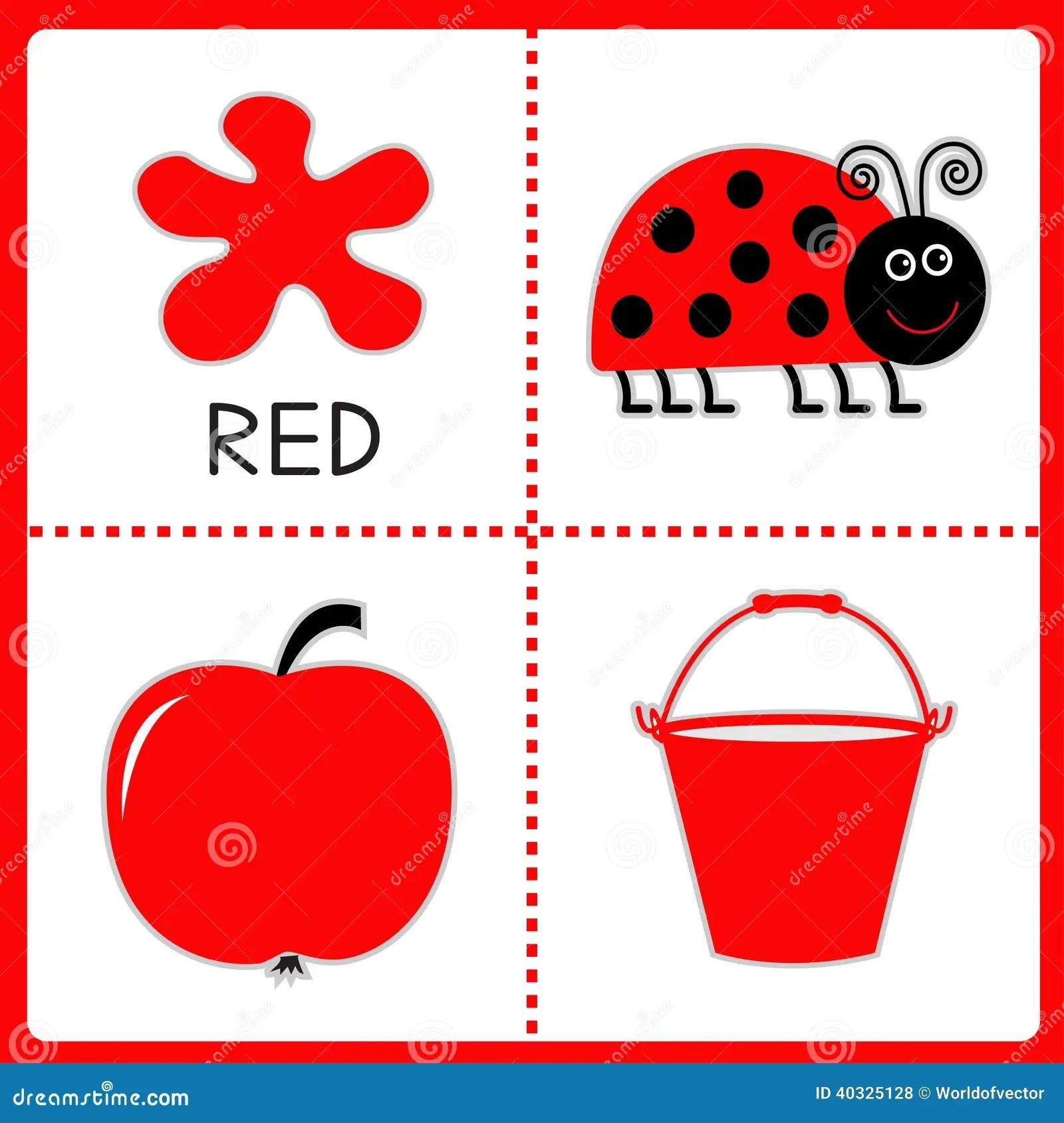 Apprendimento Del Colore Rosso Coccinella Mela E Secchio