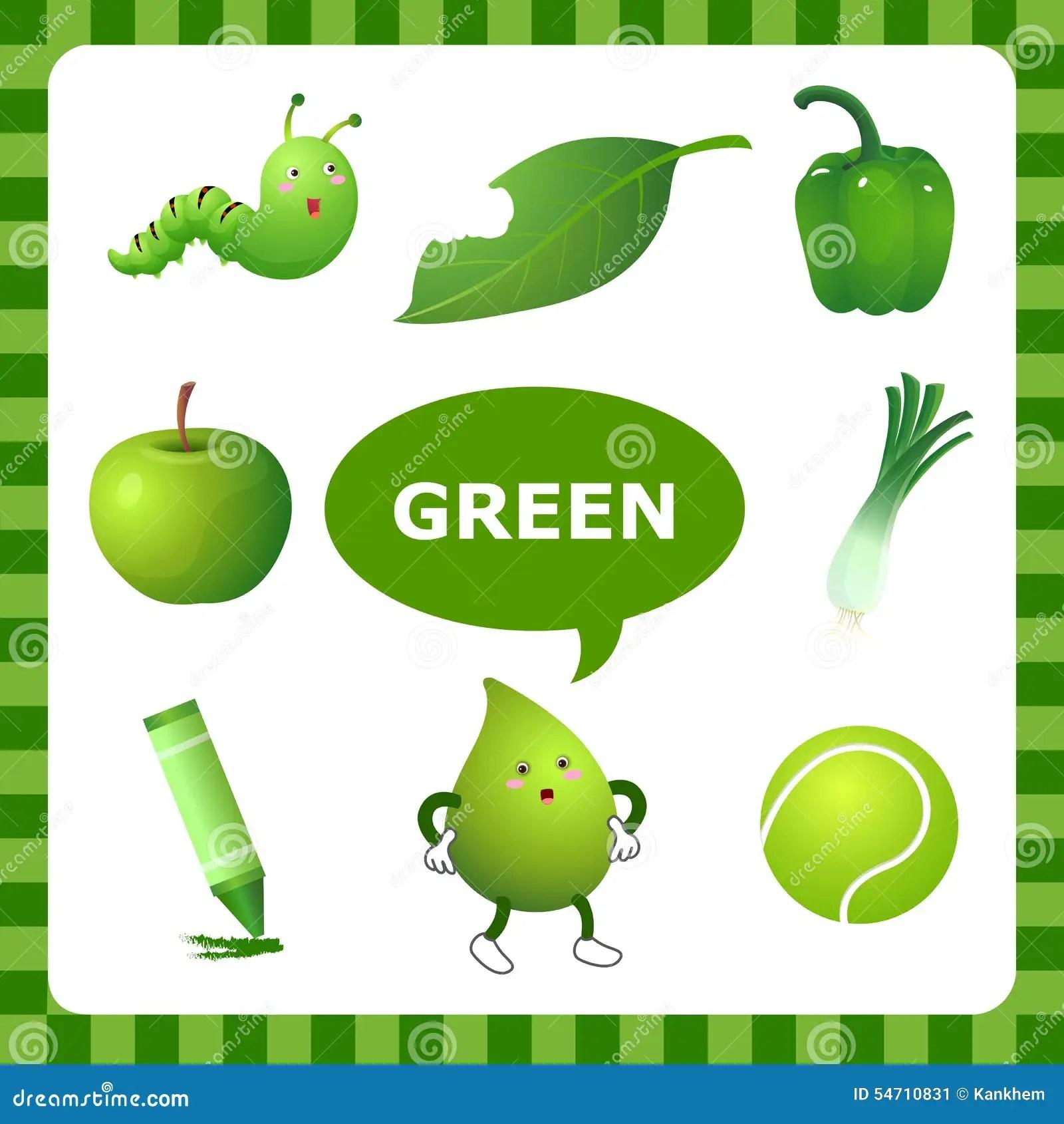 Apprendimento Del Colore Verde Illustrazione Vettoriale