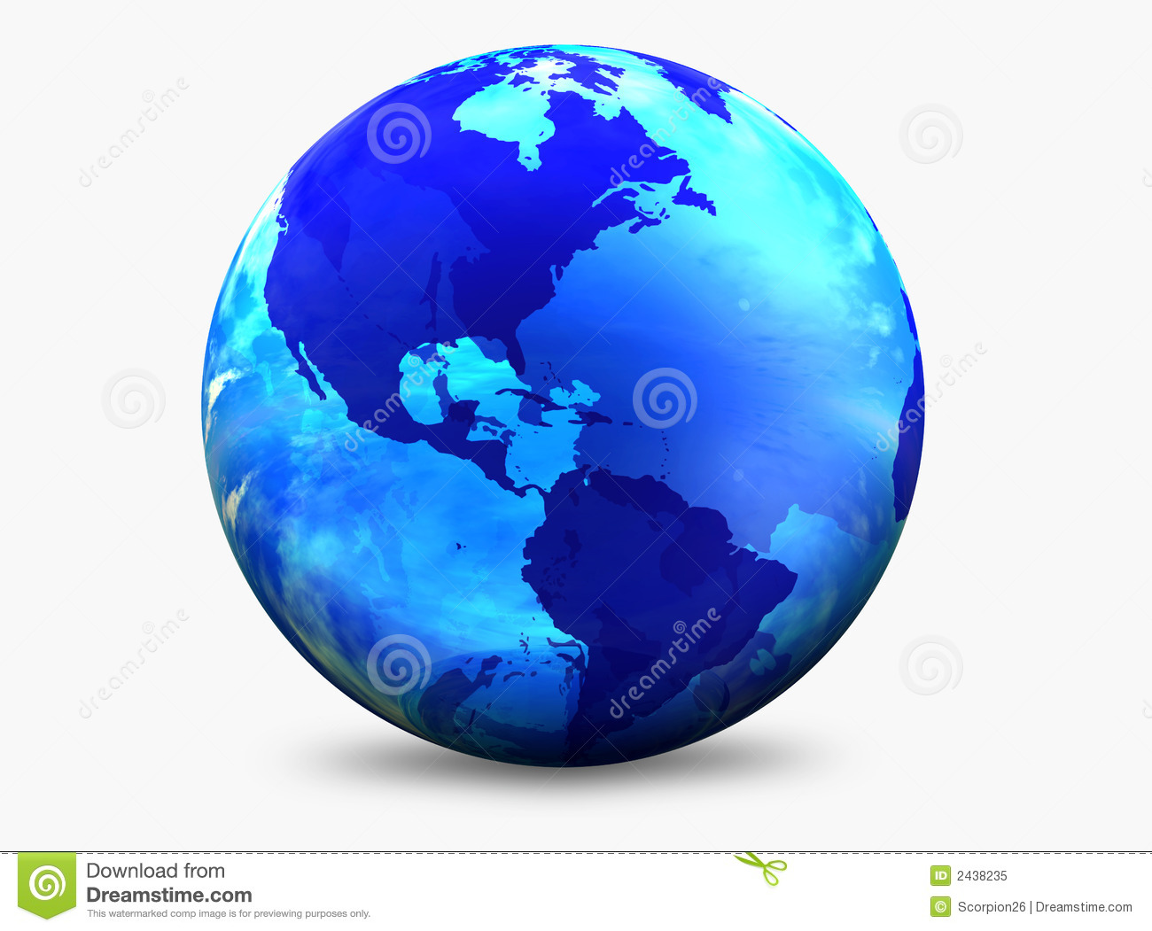 Aqua Color World Globe Stock Illustration Illustration Of