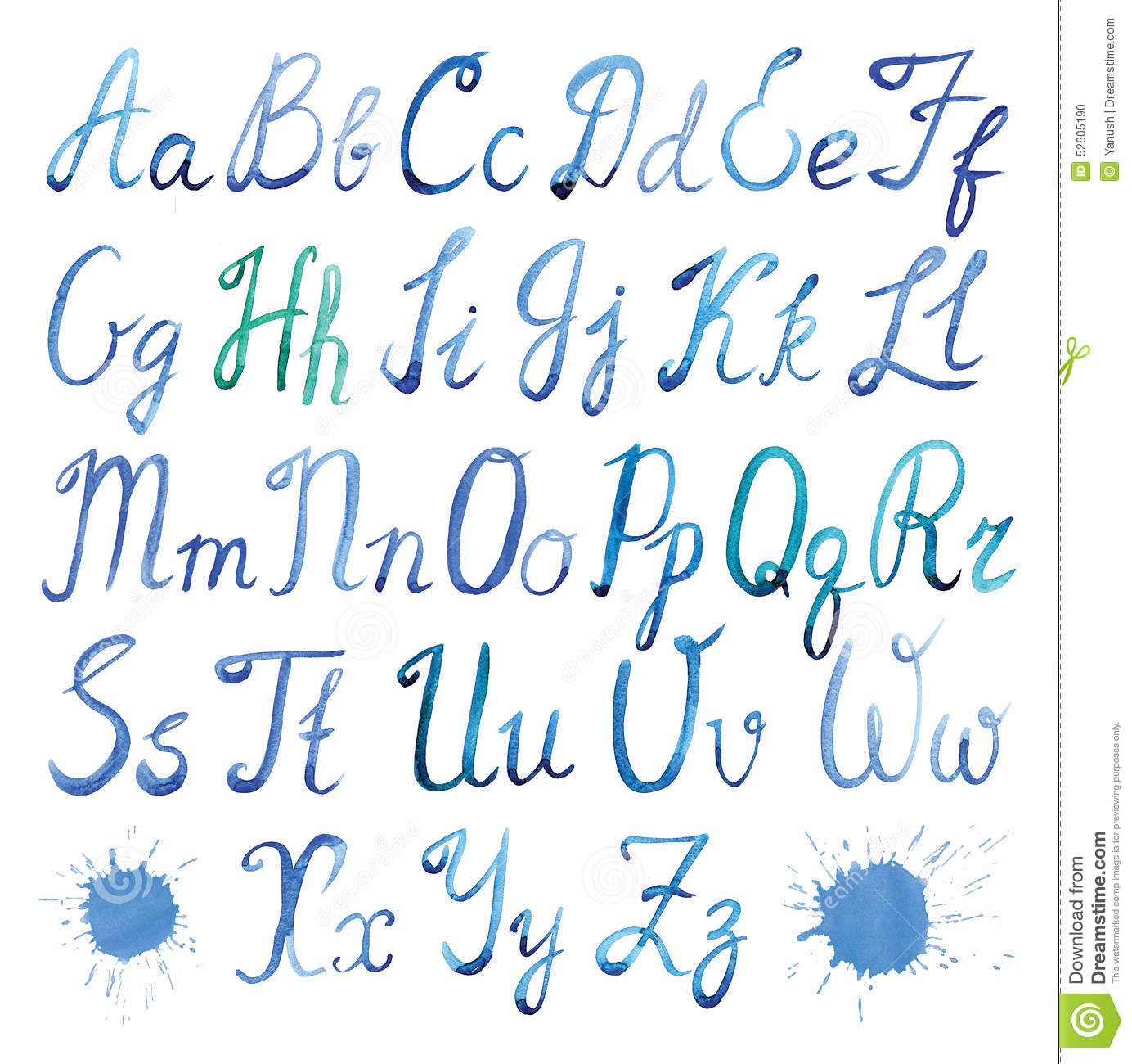 Aquarelle D Alphabet Latin Illustration Stock