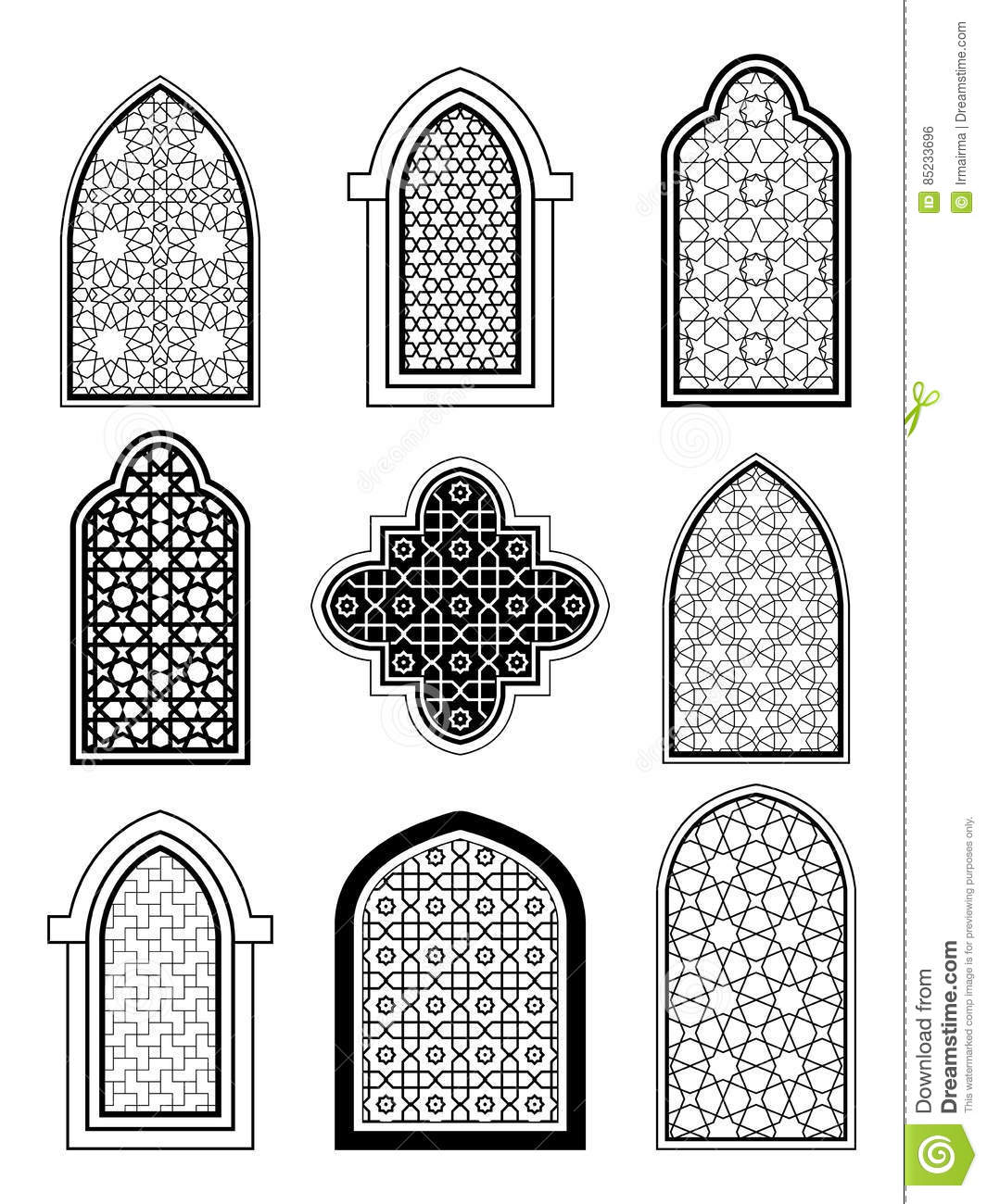 Arabic Or Islamic Traditional Architecture Set Of Window