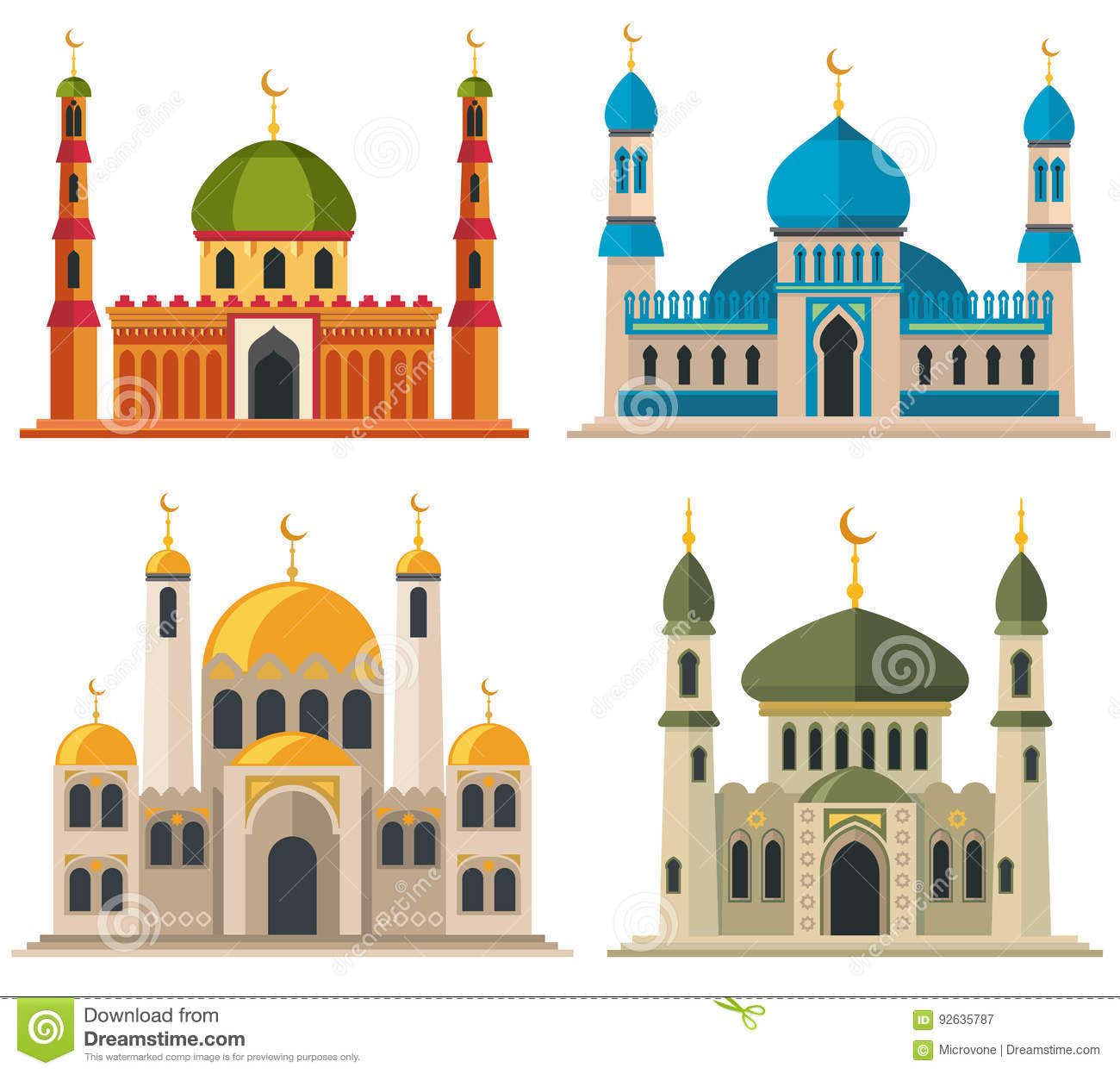 Arabic Muslim Mosques And Minarets Stock Vector