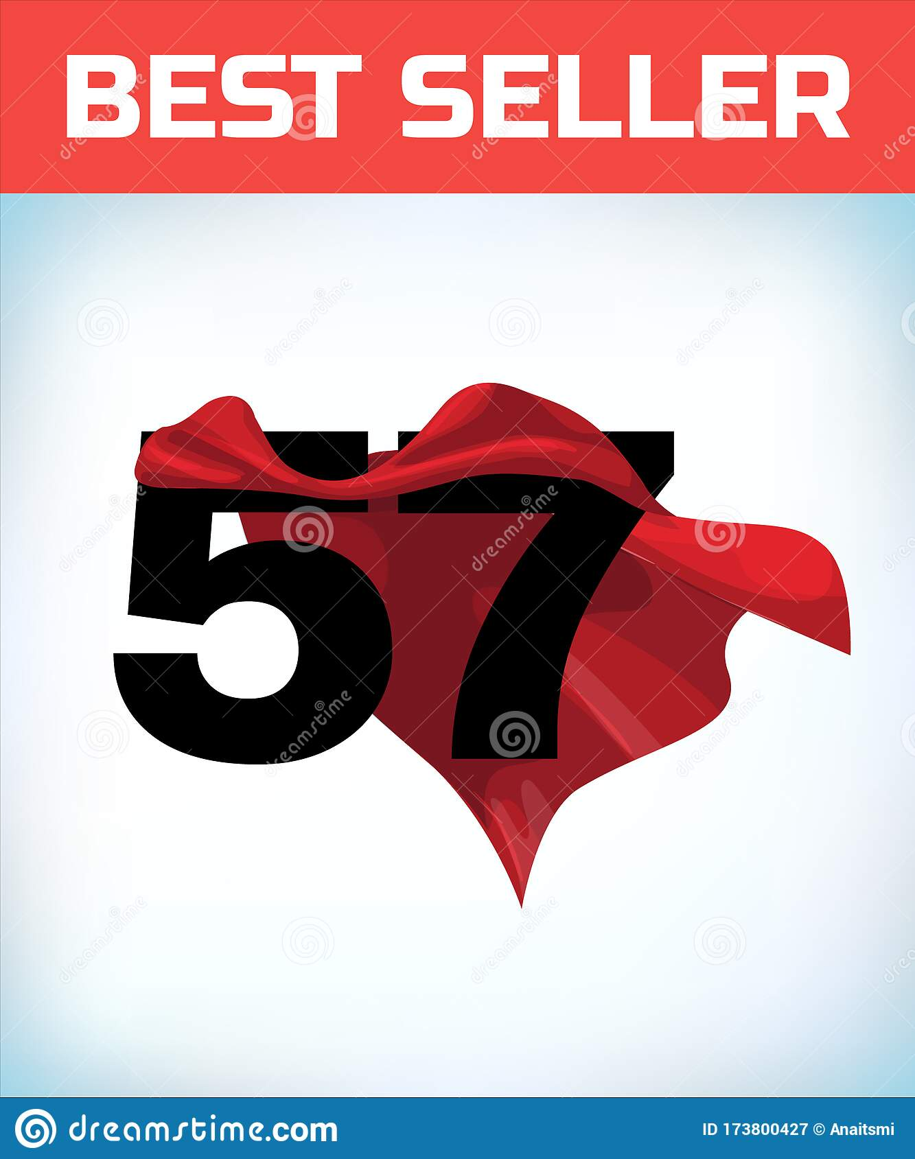 Arabic Number Fifty Seven In The Red Cloak Of The Winner