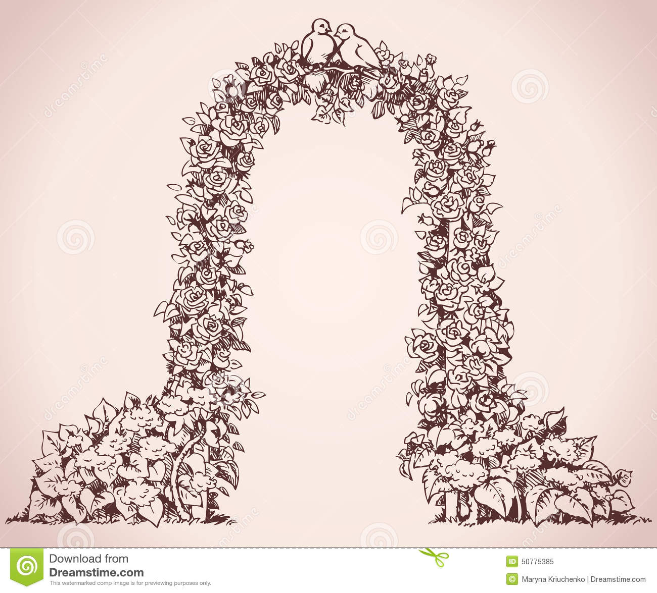Arch Of Flowers Vector Sketch Stock Illustration Image