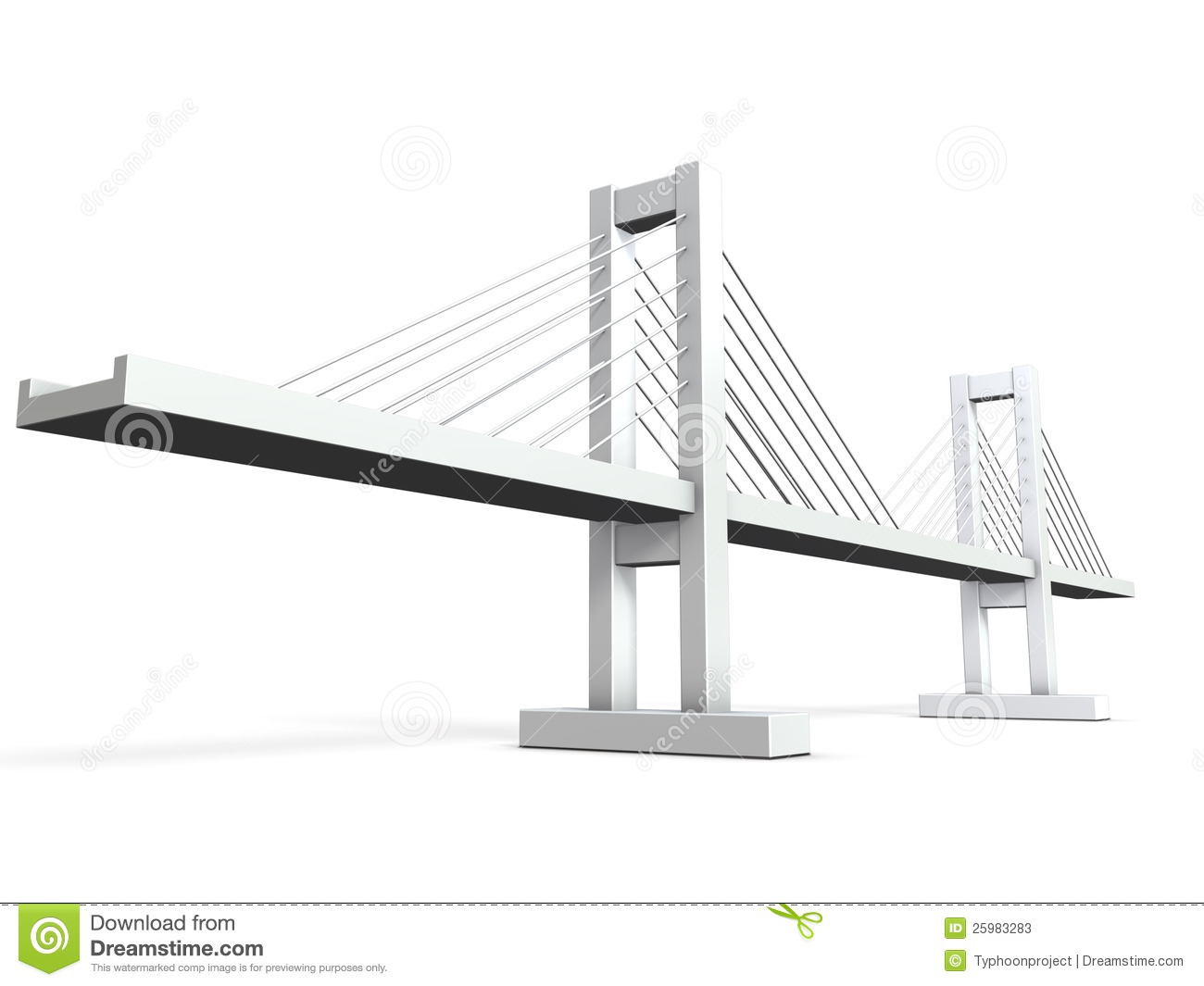 Architectural Models Of Cable Stayed Bridge Stock