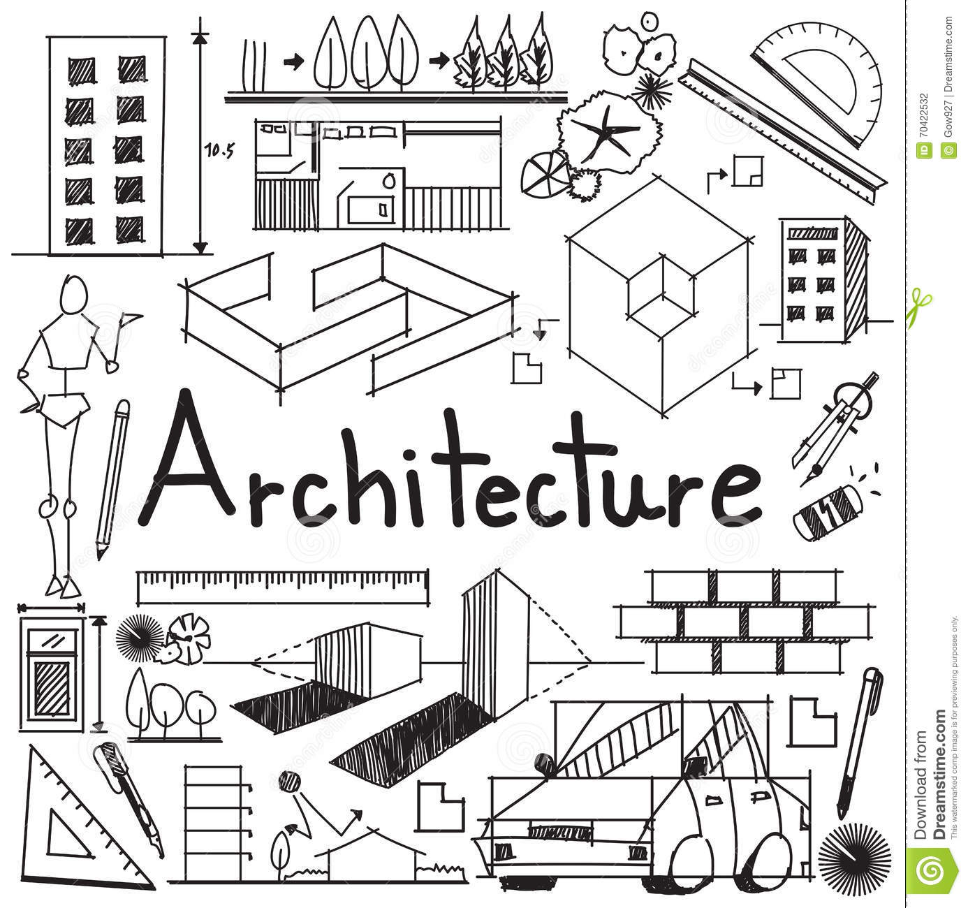 Architecture And Architect Design Building Exterior Doodle