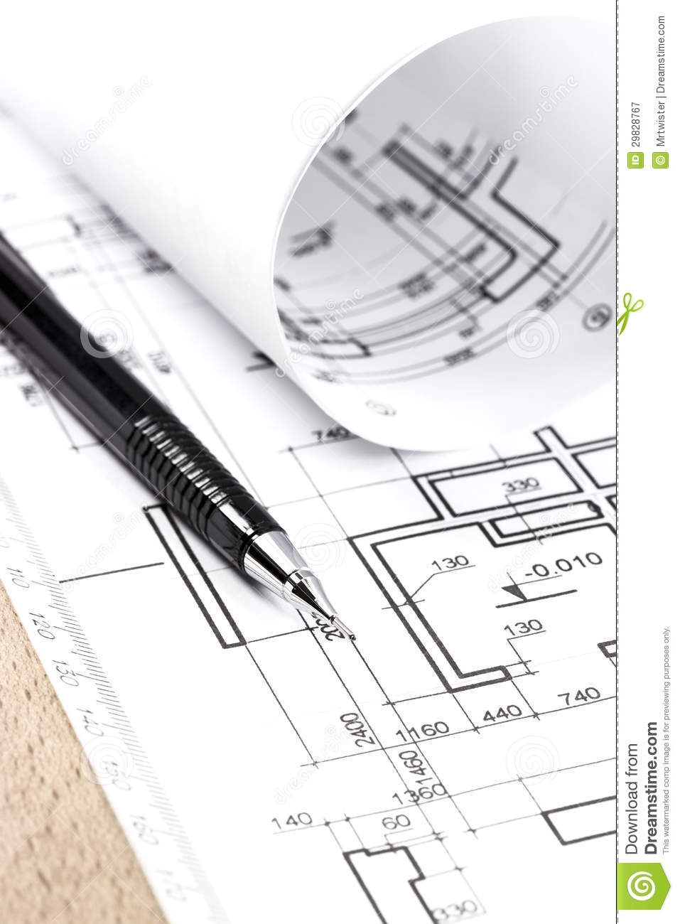 Architecture Draw And Instruments Royalty Free Stock