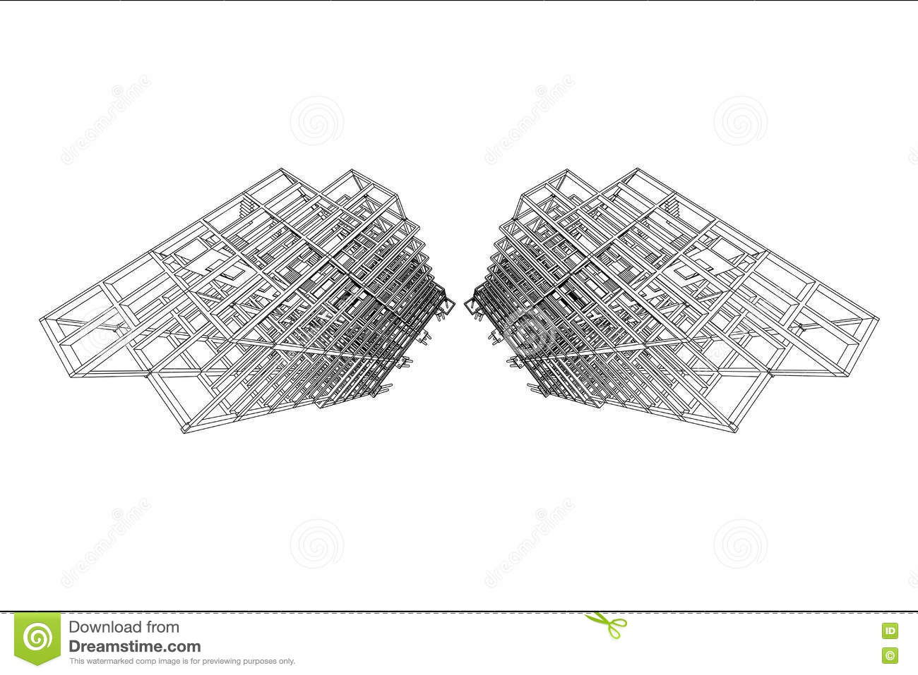 Architecture Drawing High Rise Building Structure Stock Illustration